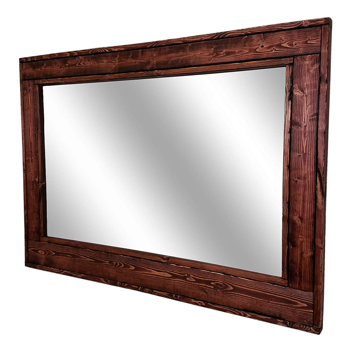 Most Popular Herringbone Reclaimed Wood Framed Mirror, Available In 4 Sizes And 20 Stain Colors: Shown In Red Mahogany – Rustic Wall Mirror – Large Wall Mirror – Regarding Large Wall Mirrors With Wood Frame (View 1 of 20)