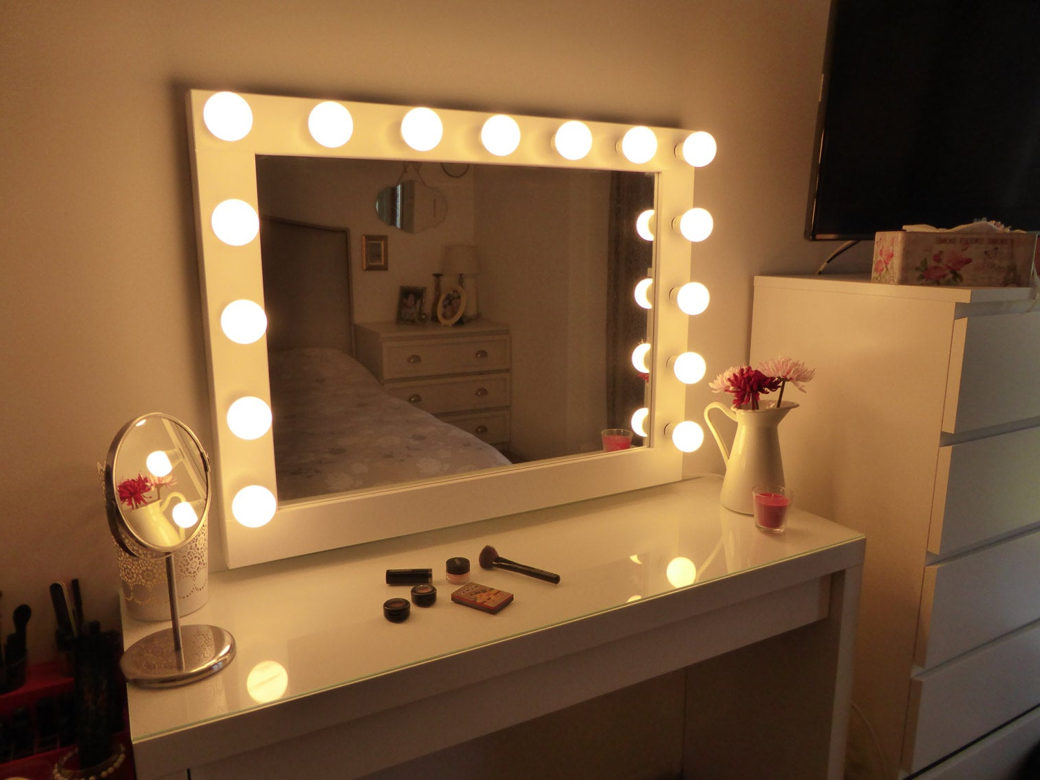 Most Popular Hollywood Lighted Vanity Mirror Large Makeup Mirror With Lights Wall Hanging/free Standing Perfect For Ikea Malm Vanity Bulbs Not Included Regarding Vanity Mirrors (View 6 of 20)