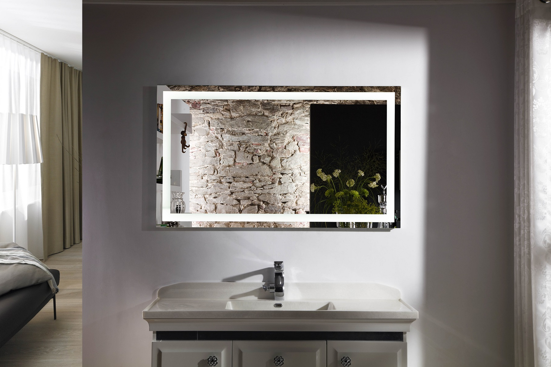 Most Popular Horizontal Wall Mirrors Within Budapest Iv Lighted Vanity Mirror Led Bathroom Mirror Horizontal (View 12 of 20)