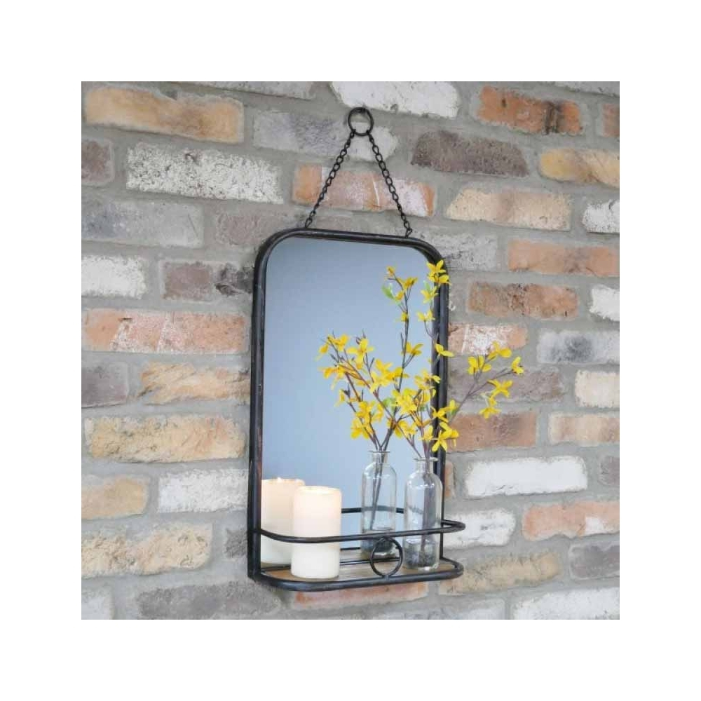 Most Popular Industrial Wall Mirrors For Black Industrial Wall Mirror With Wood Shelf (View 14 of 20)