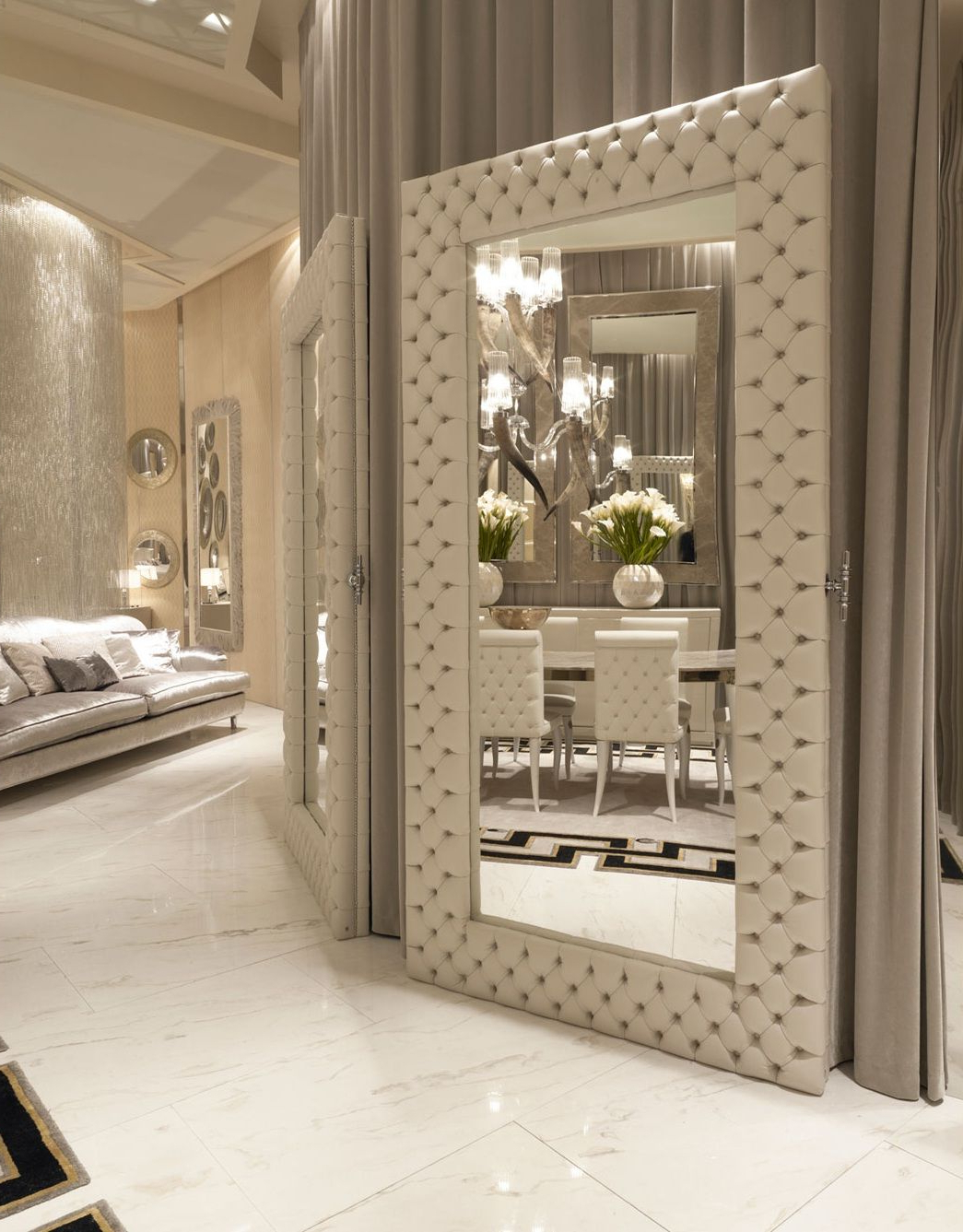 Most Popular Italian Designer Quilted Leather Floor Mirror, So Elegant Inside Floor Wall Mirrors (View 12 of 20)