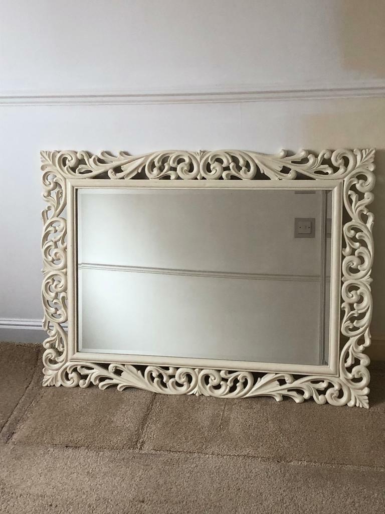 Most Popular Ivory Wall Mirrors With Large Ivory / Cream Wall Mirror – Ornate Carved Shabby Chic (Gallery 4 of 20)