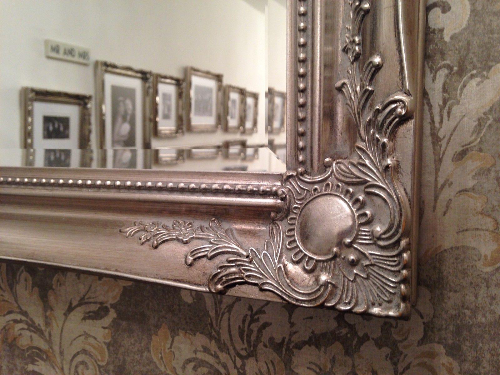 Most Popular Large Antique Silver Elegant Wall Mirror – Free Uk Postage – Bevelled Mirror Inside Large Elegant Wall Mirrors (View 12 of 20)