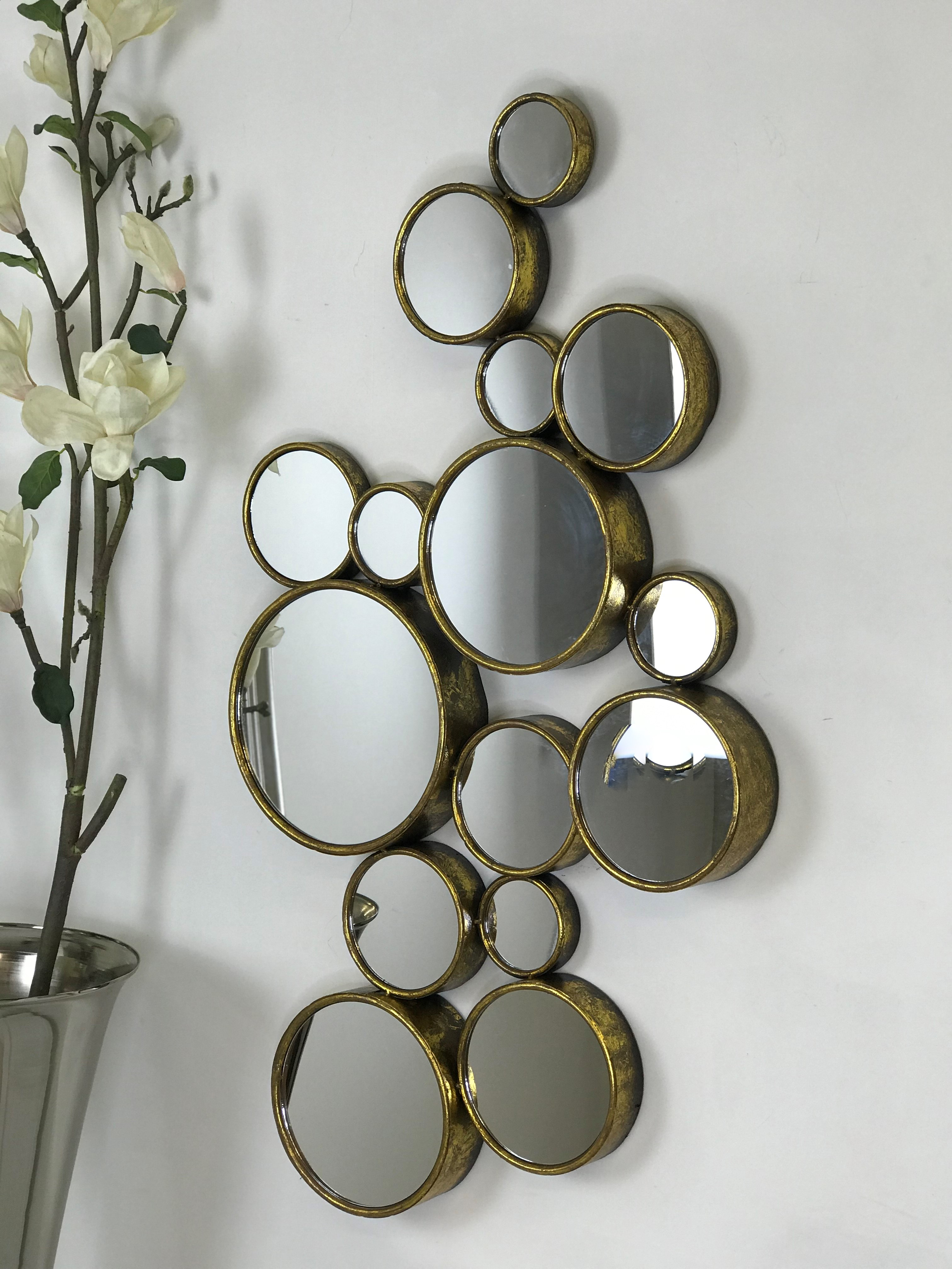 Most Popular Large Gold Wall Mirrors Inside Large Gold 15 Circles Wall Mirror (View 9 of 20)