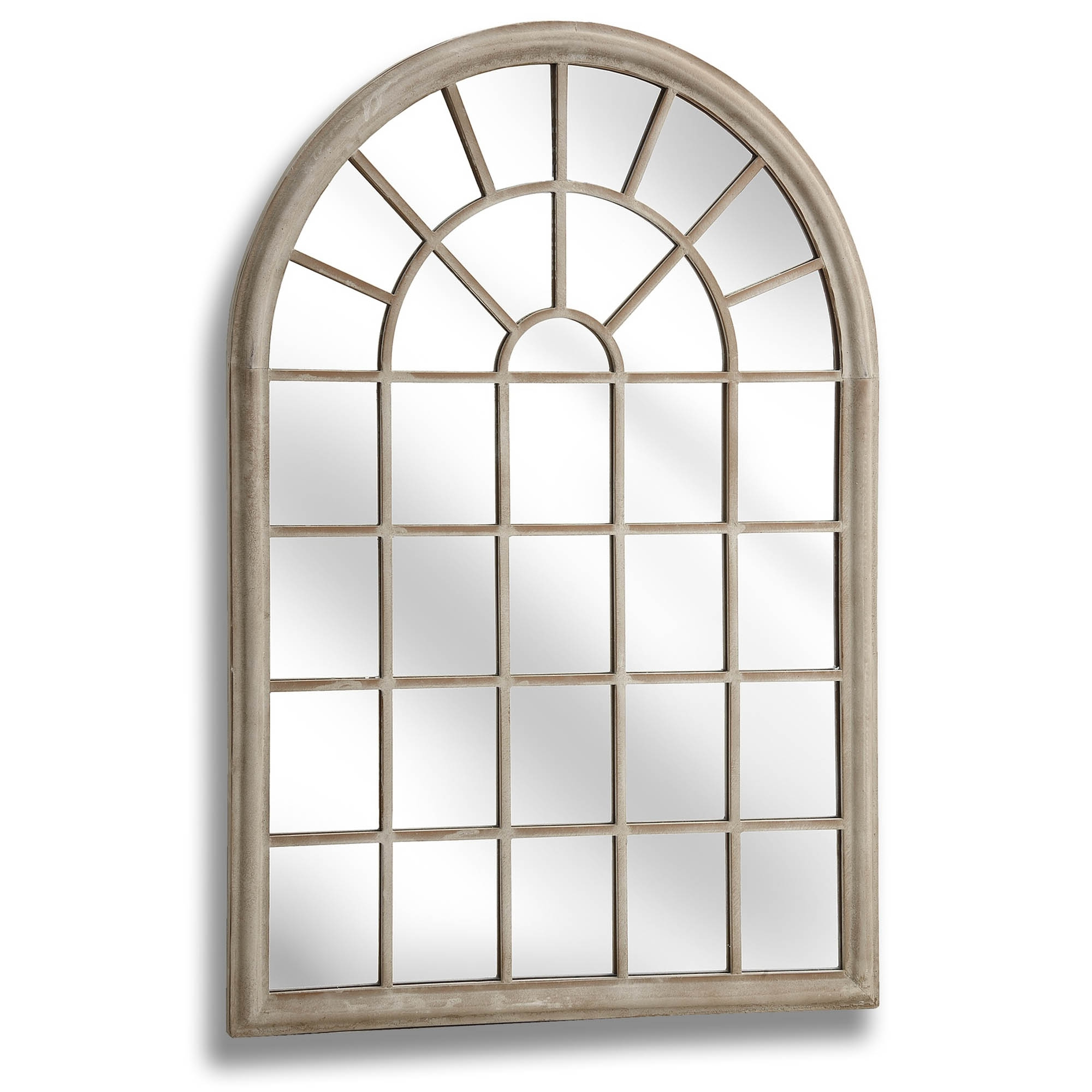 Most Popular Large Rustic Arched Window Wall Mirror With Regard To Metal Arch Window Wall Mirrors (Gallery 12 of 20)