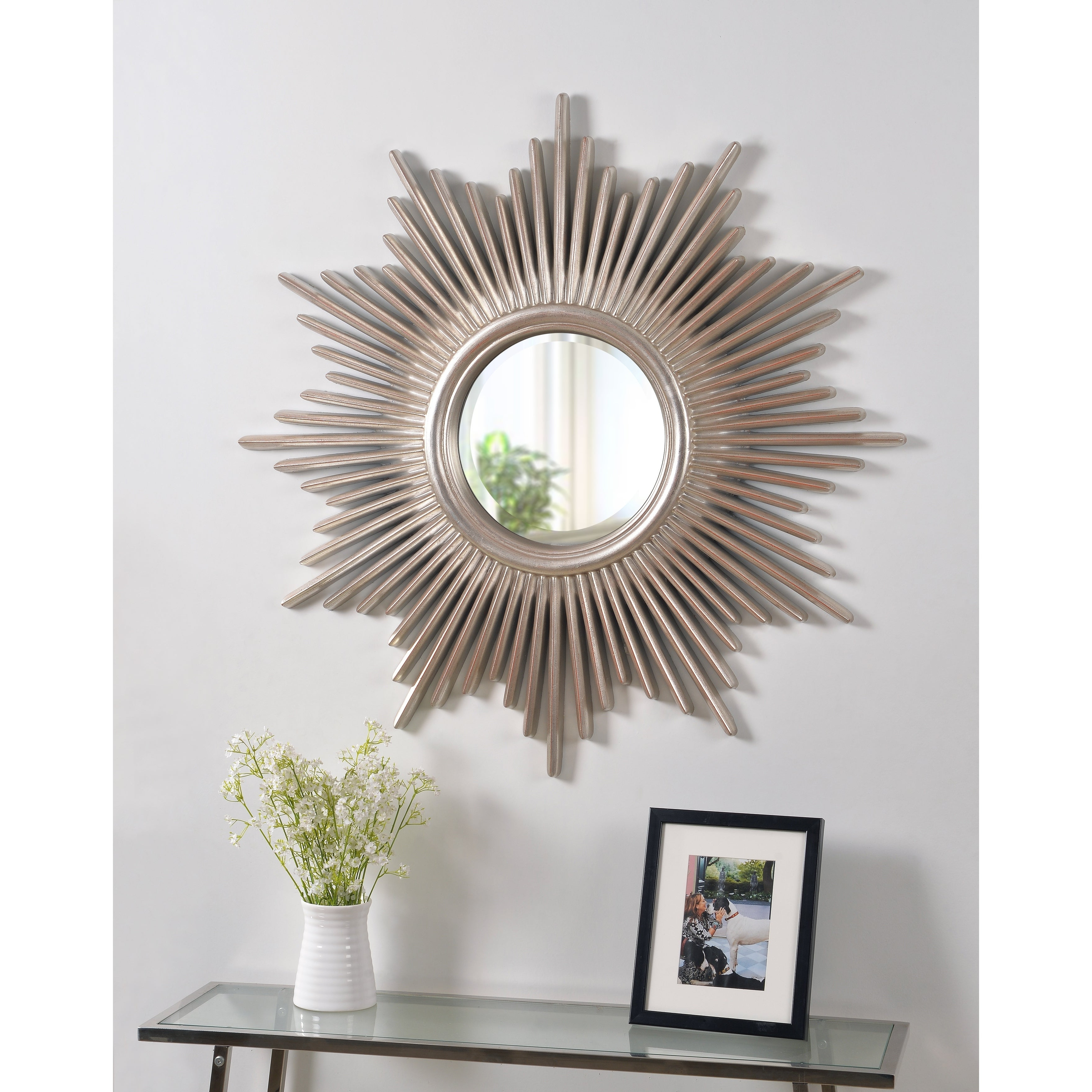 Most Popular Large Sunburst Wall Mirrors For Artemis 36 Inch Antique Silver Sunburst Wall Mirror (View 18 of 20)