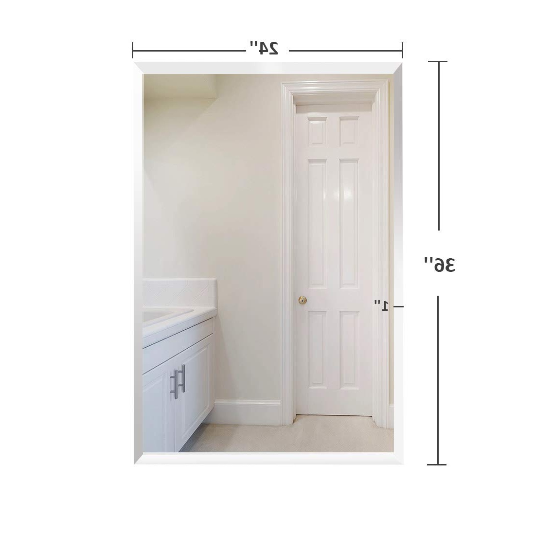 """Most Popular Large Wall Mirrors For Bathroom Throughout Bathroom Mirror Wall Mounted, Frameless Mirrors For Wall 24""""x36"""", Large  Wall Mirror, Gym Mirrors For Home Gym, Silver Backed Rectangular Glass  Panel  (View 14 of 20)"""