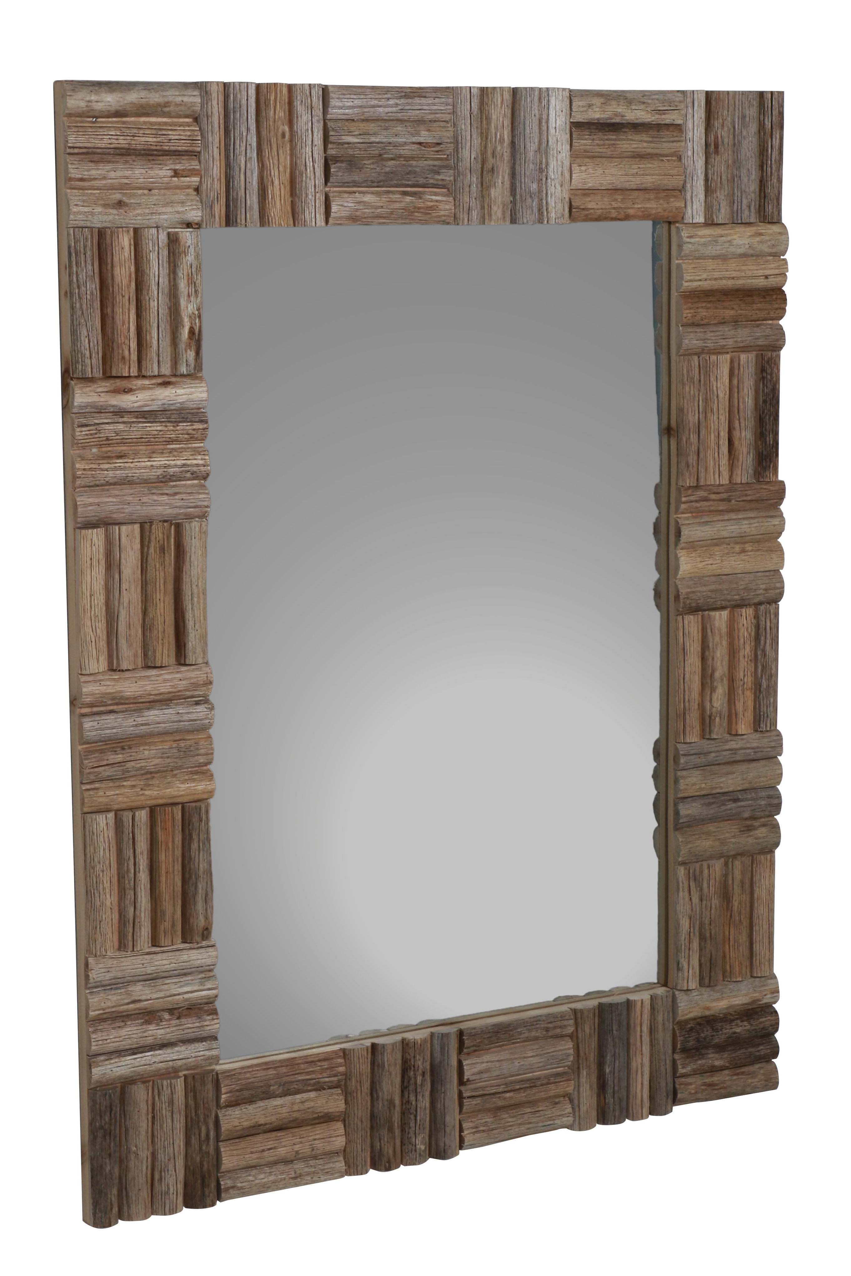 Most Popular Loon Peak Panek Wood Accent Mirror Inside Tifton Traditional Beveled Accent Mirrors (View 11 of 20)