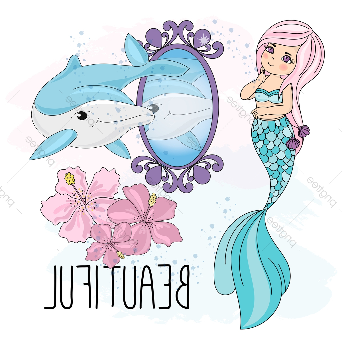 Most Popular Mermaid Mirror School Autumn Sea Underwater Vector Illustration Set Inside Mermaid Wall Mirrors (View 18 of 20)