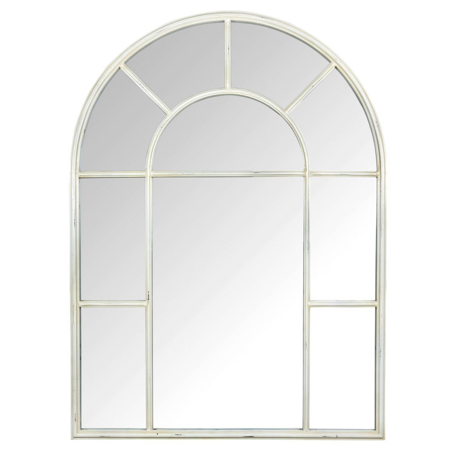 Most Popular Metal Arch Window Wall Mirrors Throughout Ivory Arch Mirror (View 15 of 20)
