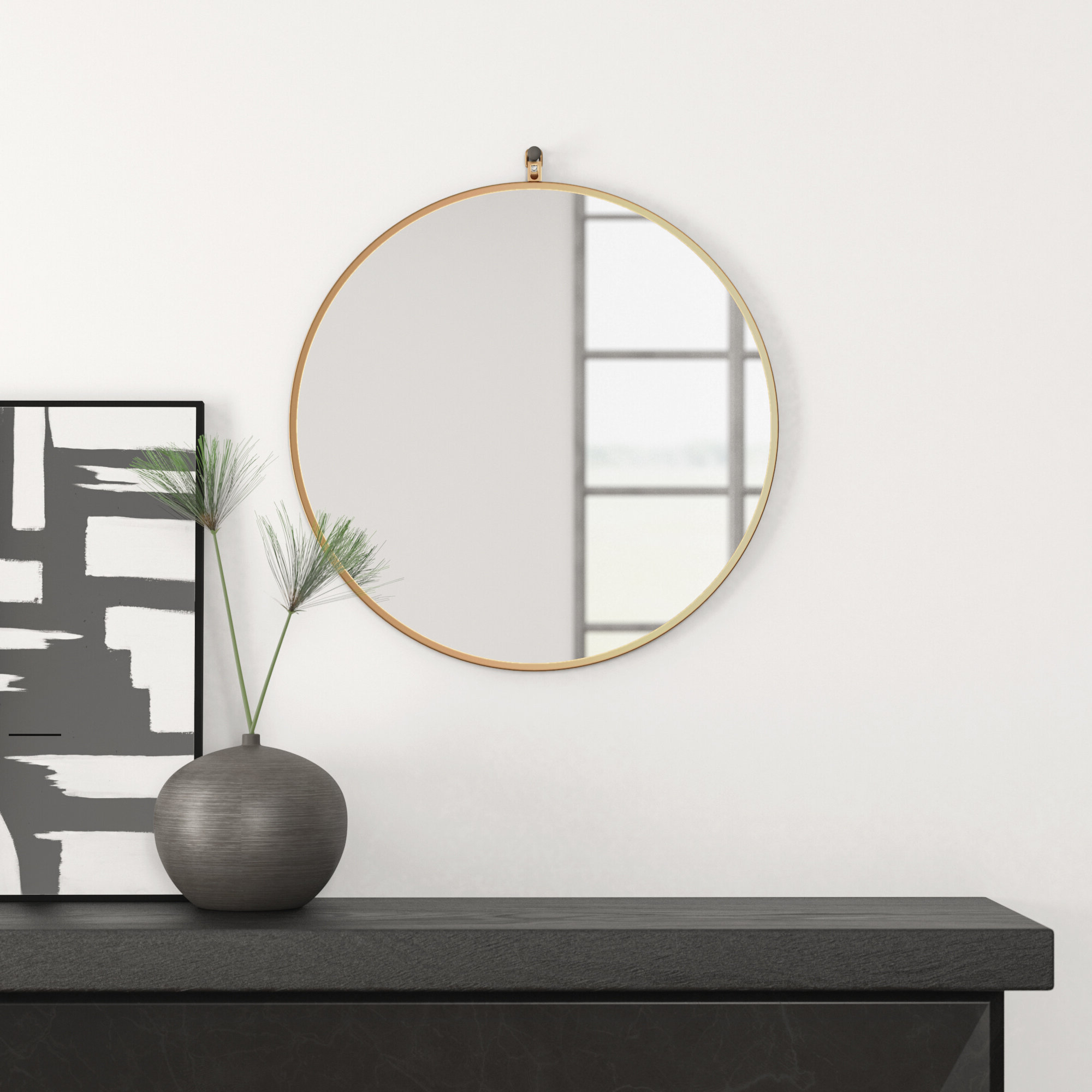 Most Popular Needville Modern & Contemporary Accent Mirrors Inside Yedinak Modern Distressed Accent Mirror (View 13 of 20)