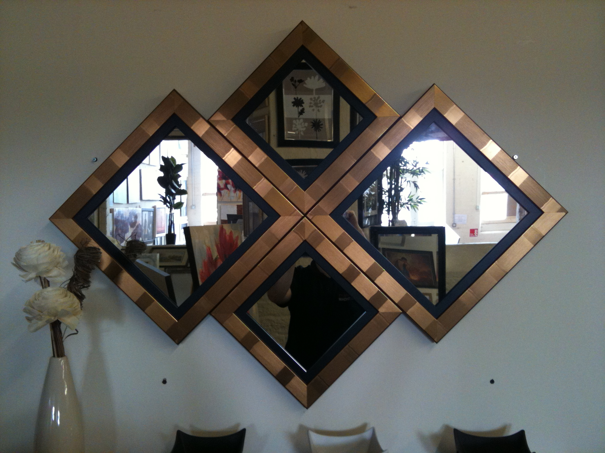 Most Popular New Gold/black Diamond Wall Mirror 115 X 86 Cm With Black And Gold Wall Mirrors (View 13 of 20)