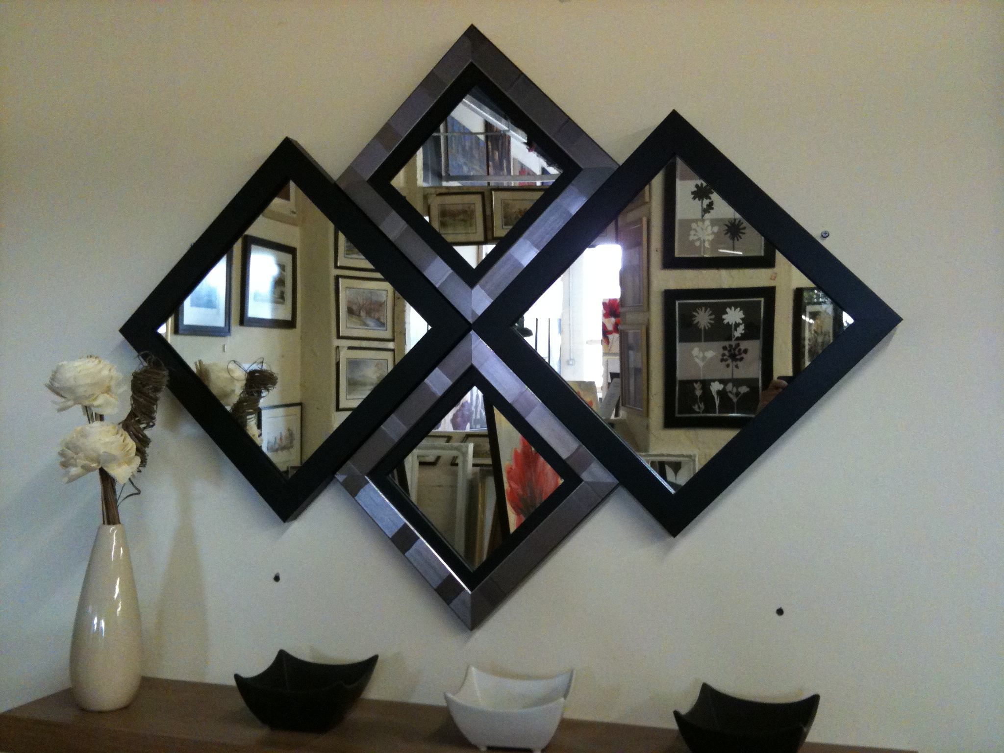 Most Popular New Modern Black/silver Diamond Wall Mirror 115 X 86 Cm Pertaining To Contemporary Black Wall Mirrors (View 2 of 20)