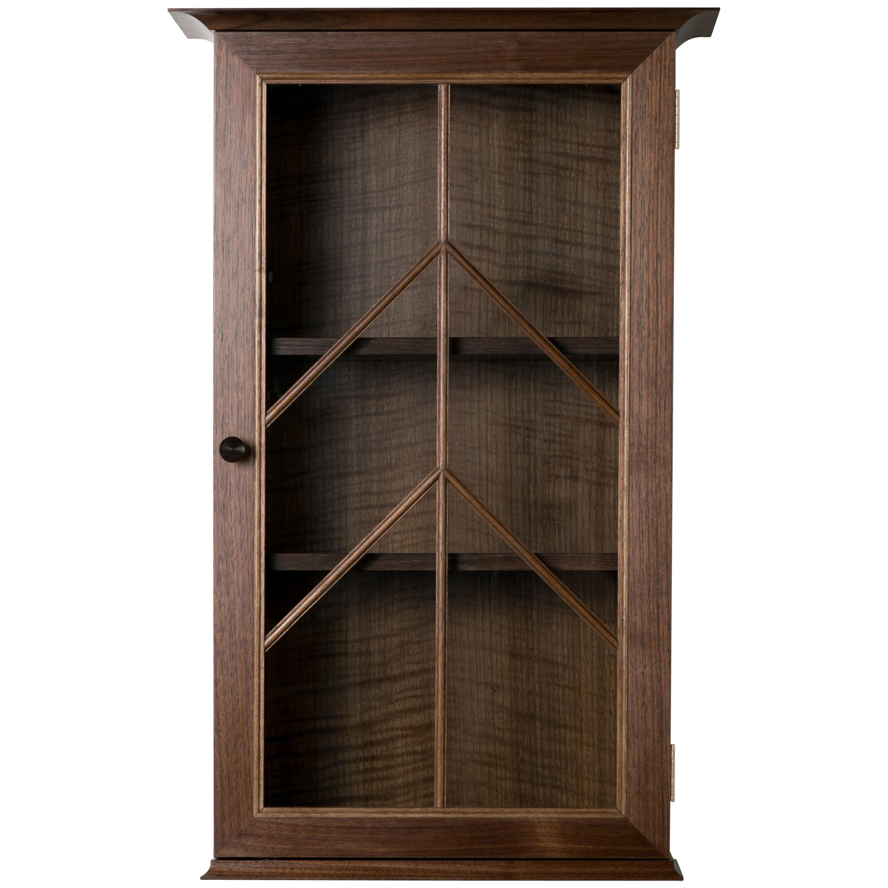 Most Popular Northend Wall Mirrors In Contemporary North End Wall Cabinet In Walnut, Curly Oak With Barred Glass Door (View 17 of 20)