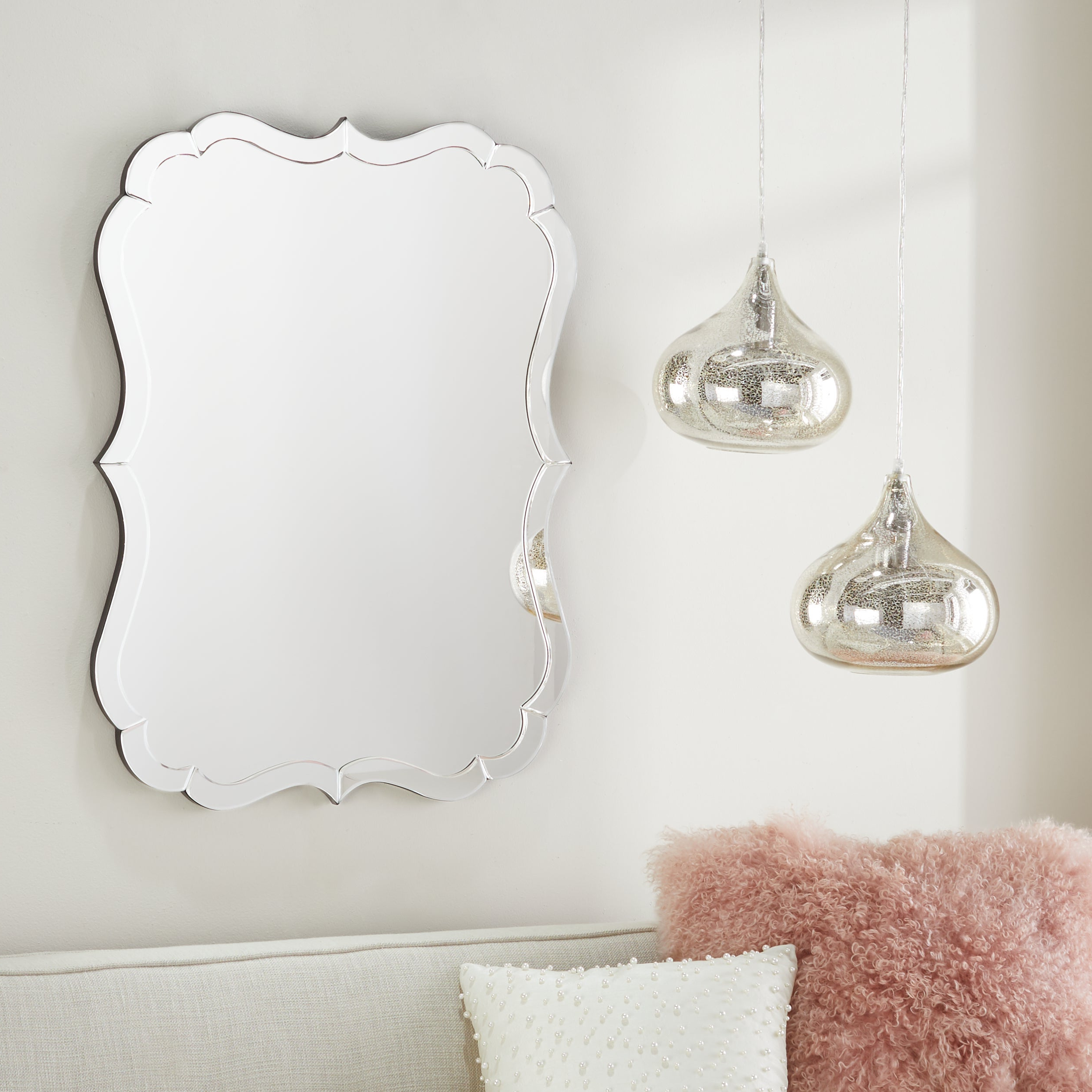 Most Popular Phineas Wall Mirrors In Abbyson Olivia Rectangle Wall Mirror – Silver (Gallery 18 of 20)