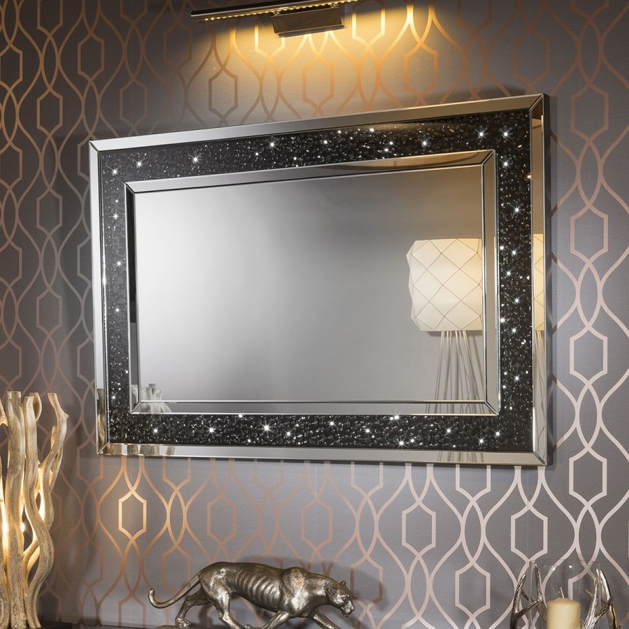 Most Popular Premium Modern Rectangular Designer Wall Mounted Feature Mirror 120X80 In Stunning Wall Mirrors (View 10 of 20)