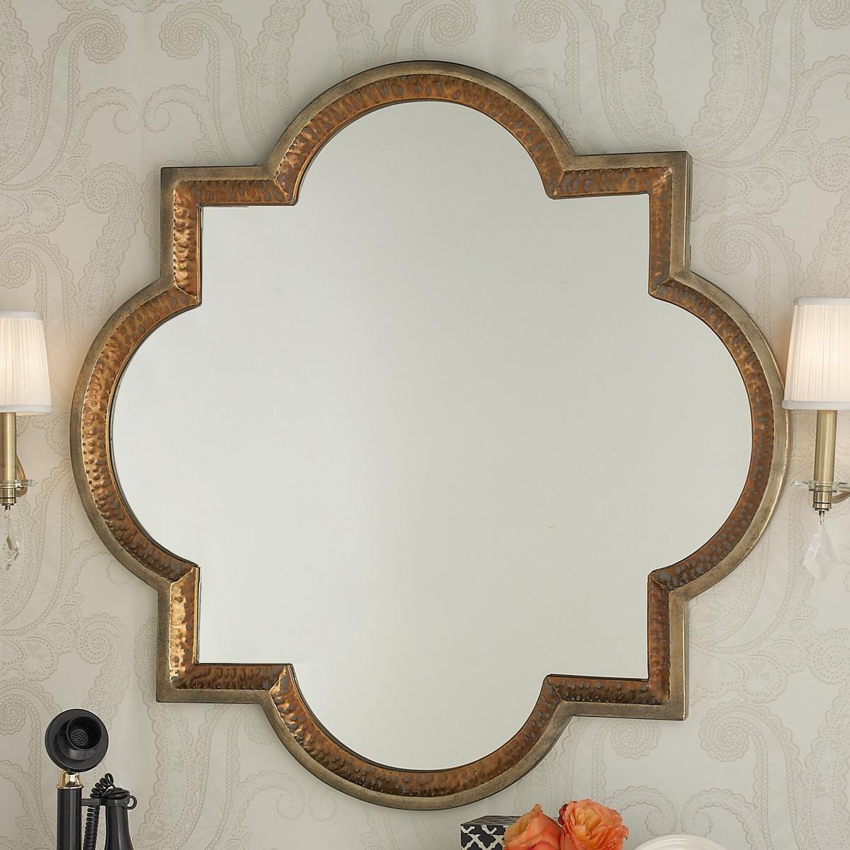 Most Popular Quatrefoil Wall Mirrors Regarding Gold And Copper Quatrefoil Mirror (View 15 of 20)