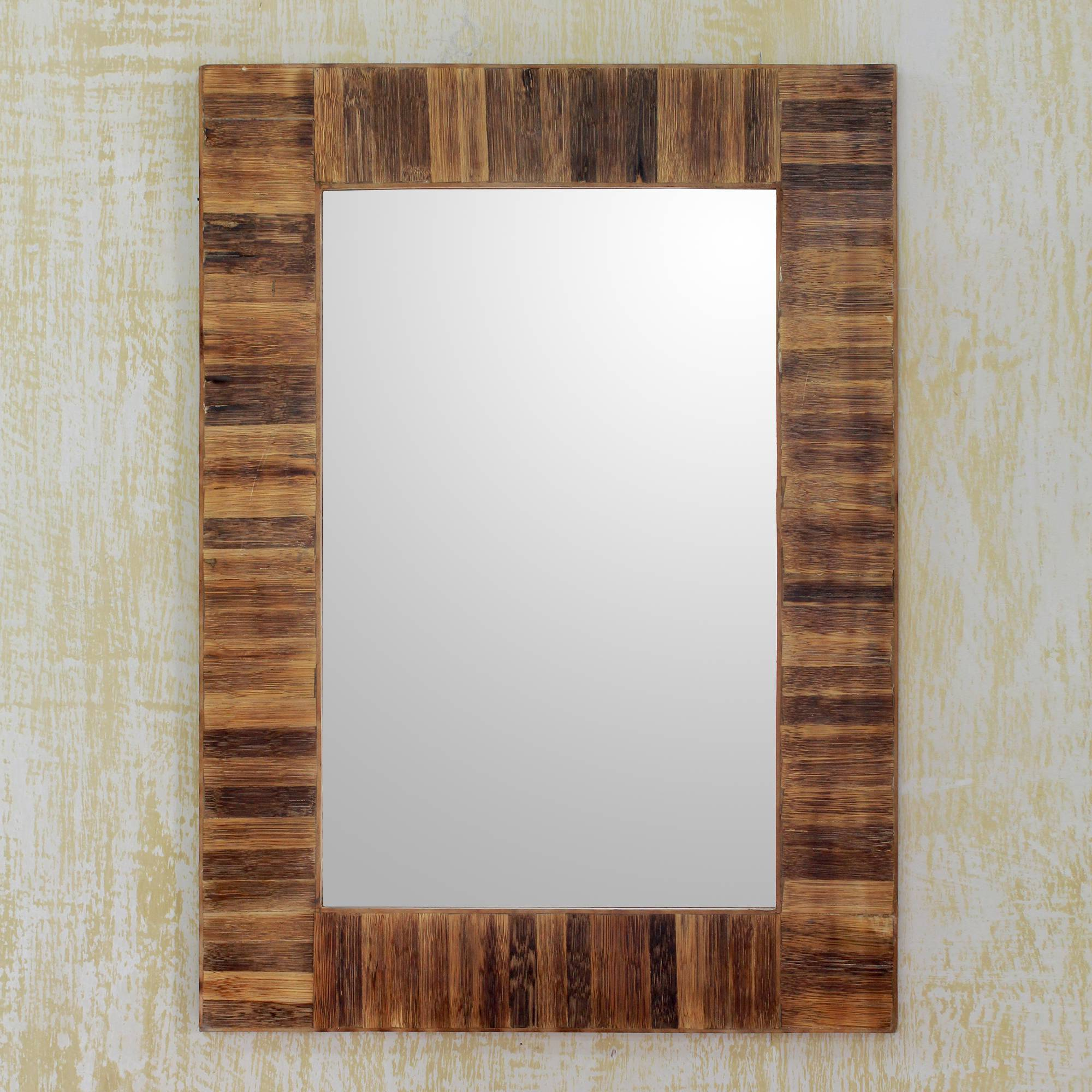 Most Popular Rustic Handmade Bamboo Framed Wall Mirror, 'bamboo Grove' Regarding Bamboo Framed Wall Mirrors (View 15 of 20)