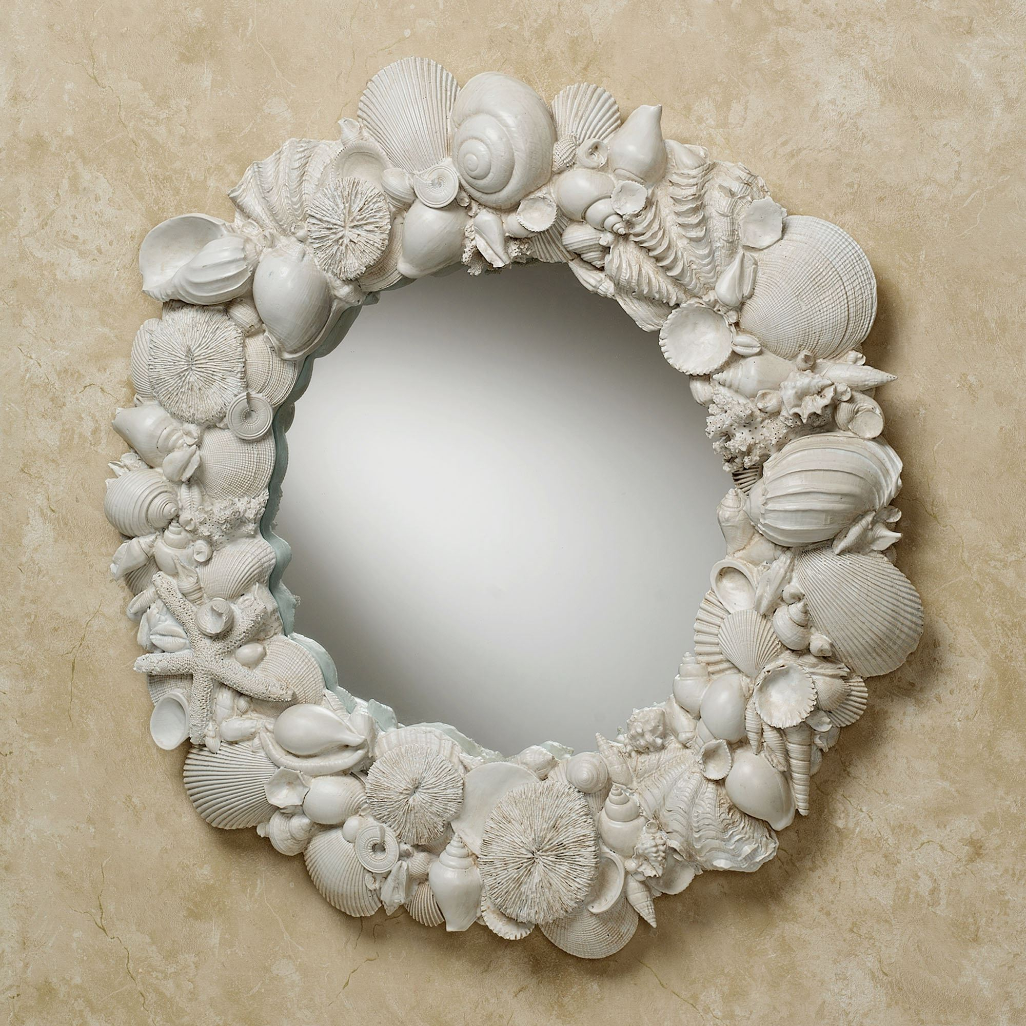 Most Popular Seashell Melange Round Coastal Wall Mirror Pertaining To Seashell Wall Mirrors (View 6 of 20)