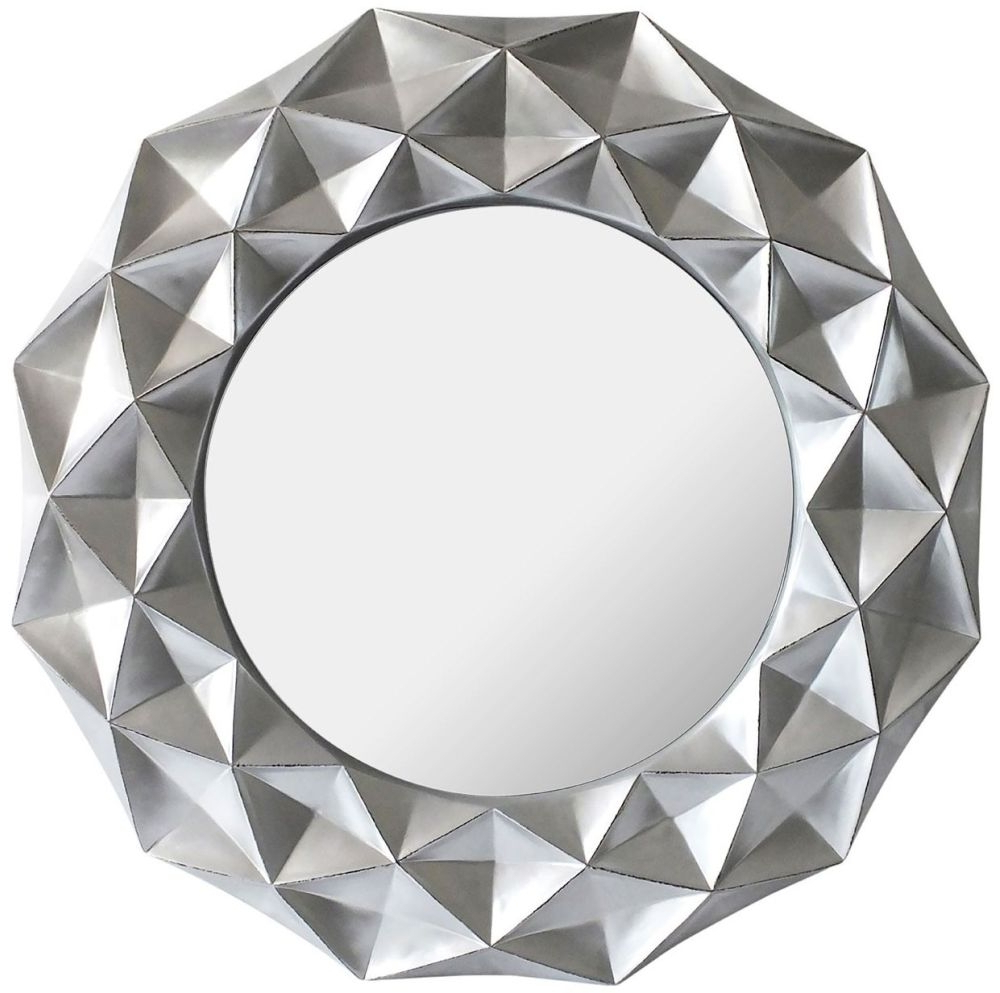 Most Popular Silver Round Wall Mirrors Throughout Hexa 3D Effect Light Silver Round Wall Mirror (View 10 of 20)