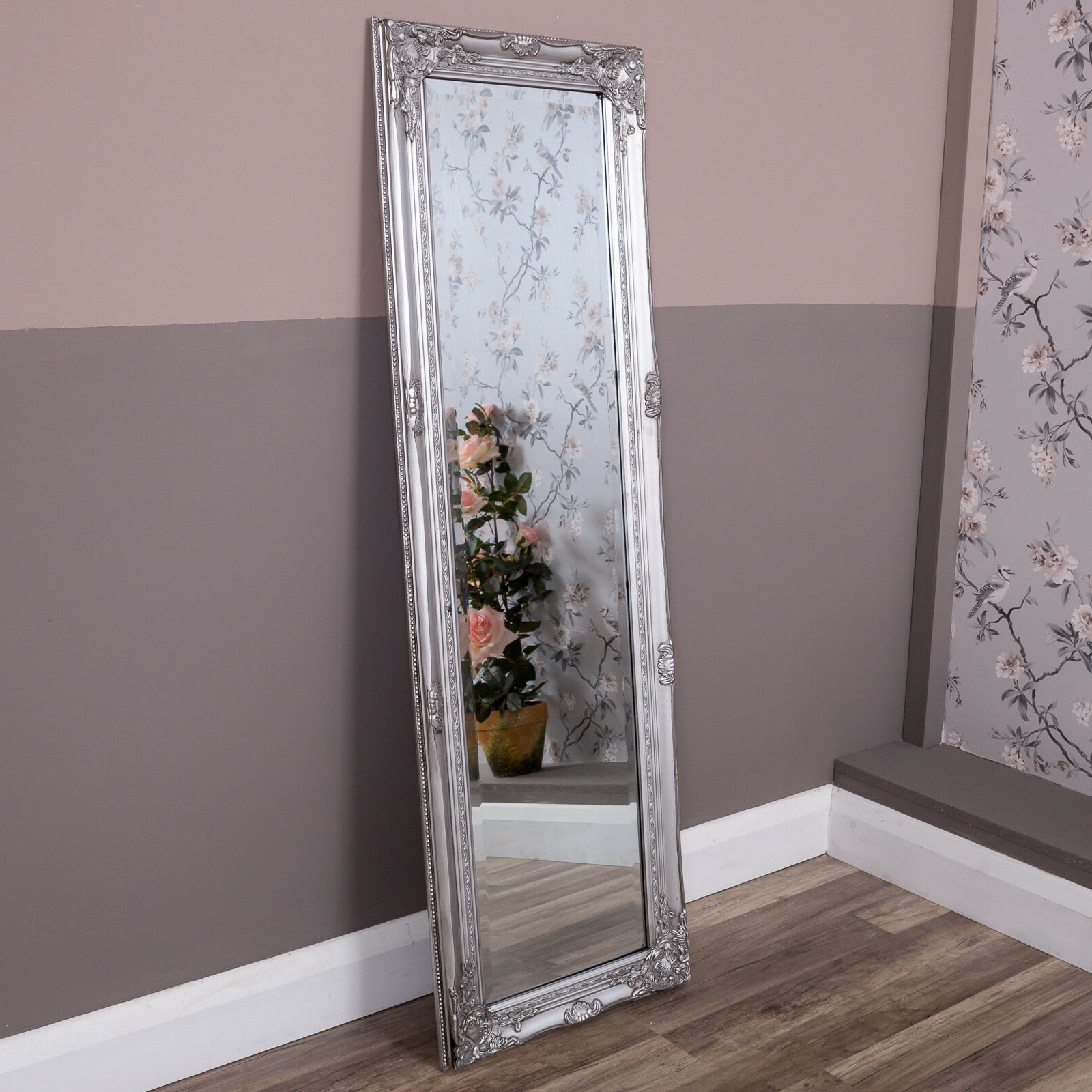 Most Popular Silver Tall Wall Mirror Shabby Vintage Chic French Large Full Length 150 X  50 Cm Throughout Ornate Full Length Wall Mirrors (View 8 of 20)