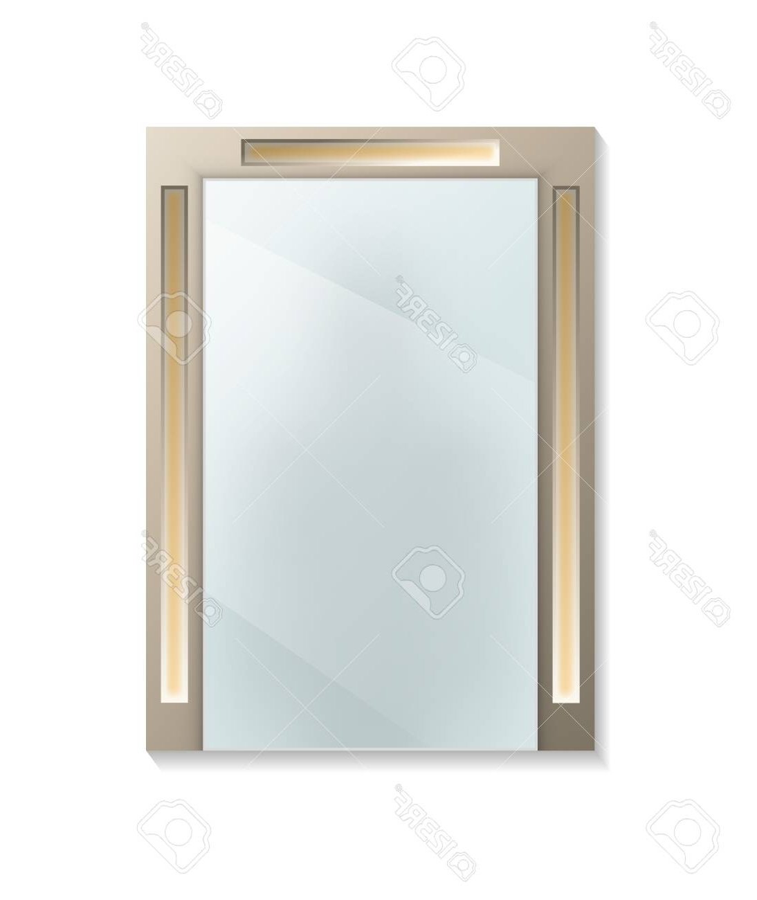 Most Popular Square Decorative Wall Mirror Isolated Icon. House Or Bathroom. (View 14 of 20)