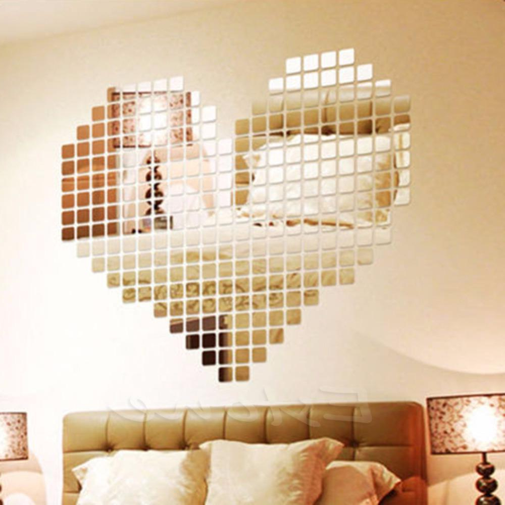 Most Popular Stick On Wall Mirrors In New Arrival 300 Mirror Tile Wall Sticker 3D Decal Mosaic Room Decor Stick On Modern Art (View 5 of 20)