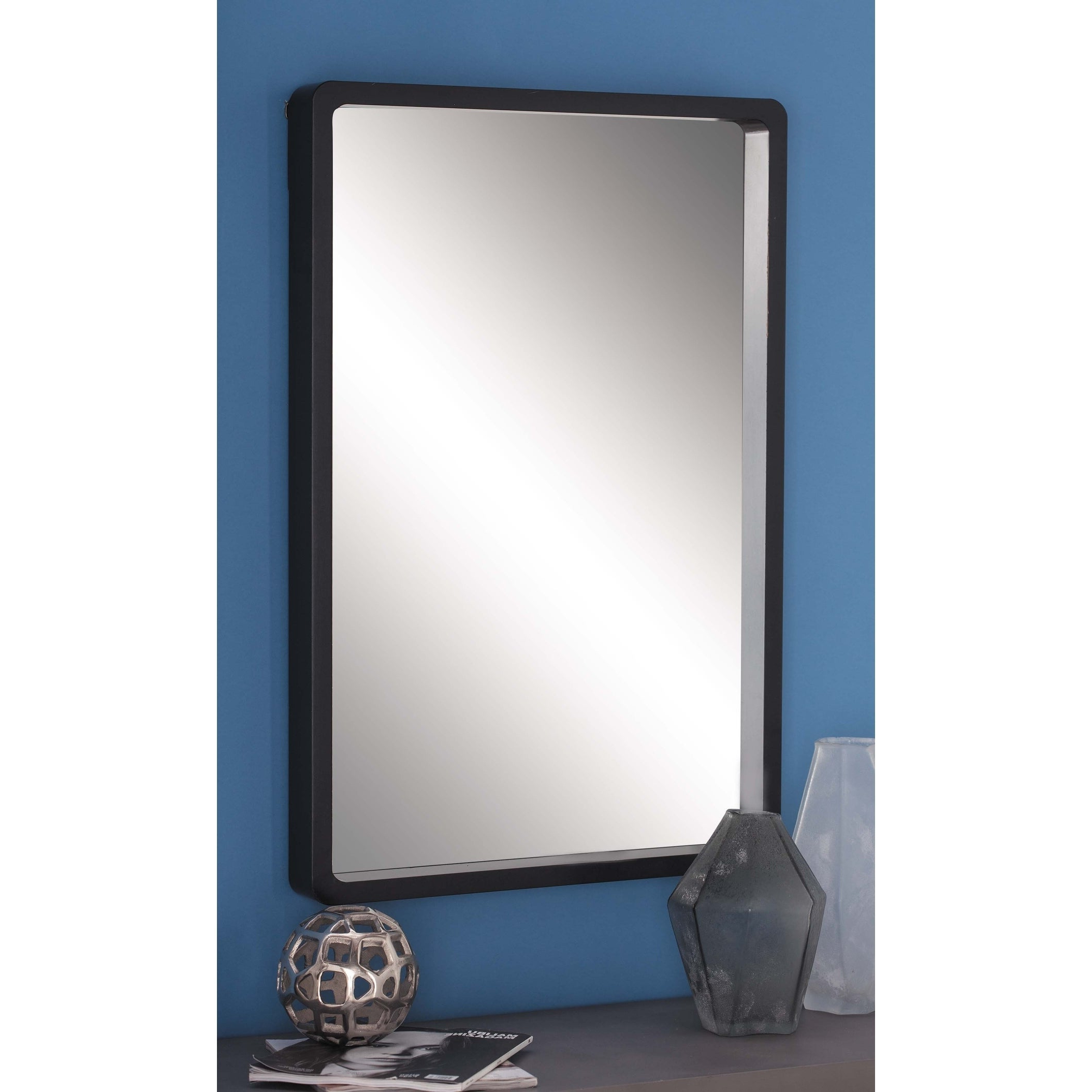 Most Popular Strick & Bolton Buri Black Wood Wall Mirror – N/a Pertaining To Flat Wall Mirrors (View 18 of 20)
