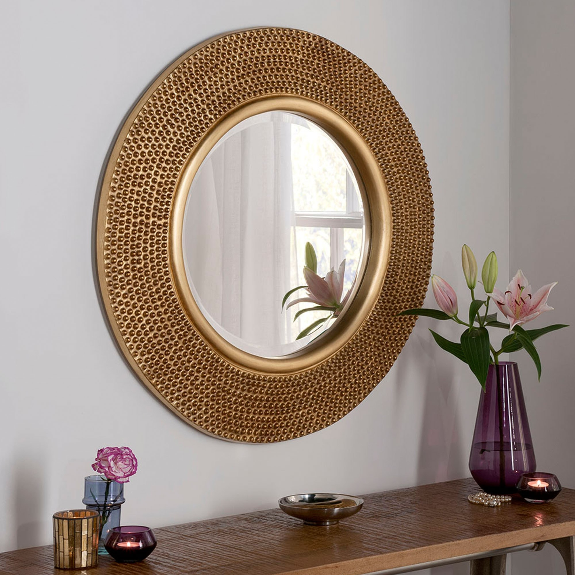 Most Popular Studded Wall Mirrors In Circular Contemporary Gold Studded Wall Mirror (View 9 of 20)