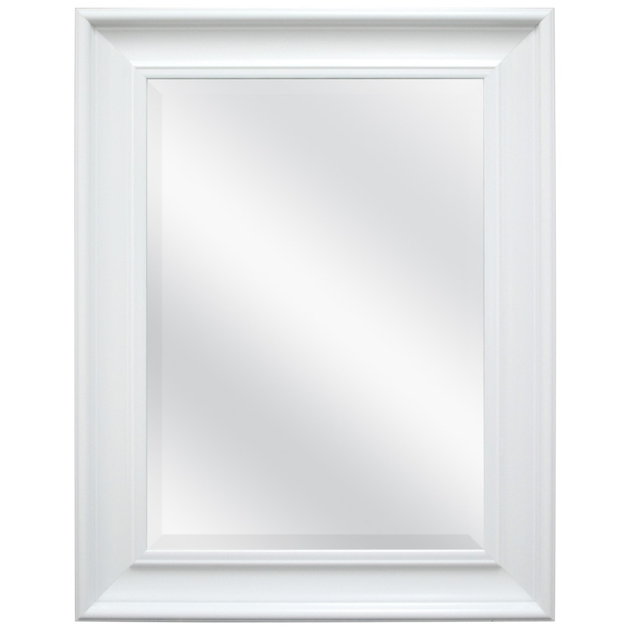 Most Popular Style Selections L X W White Beveled Wall Mirror At Lowes In Rectangle Plastic Beveled Wall Mirrors (View 3 of 20)