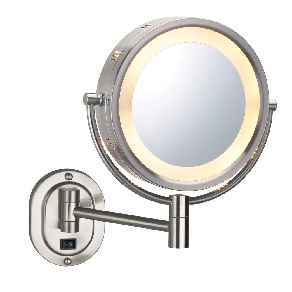Most Popular Swivel Wall Mirrors For Details About Magnifying Lighted Wall Mirror Nickel Round Swivel Sided Wall Mount Extending (View 10 of 20)