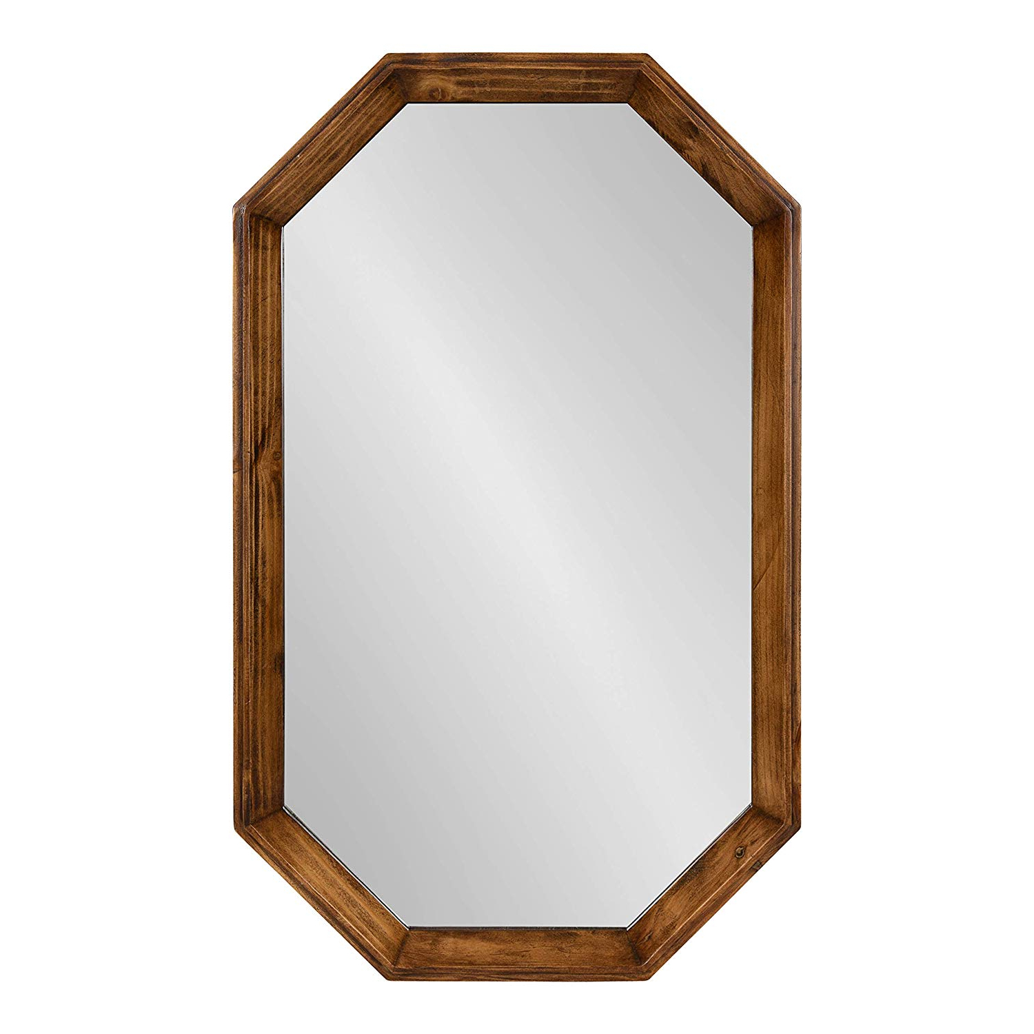Most Popular Walnut Wood Wall Mirrors In Kate And Laurel Abernathy Mid Century Modern Octagon Wood Wall Mirror,  Walnut Brown (View 7 of 20)