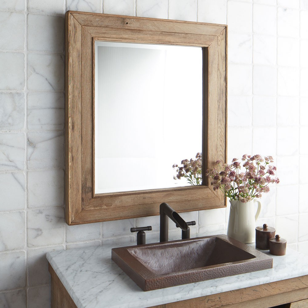 Most Popular Wood Framed Wall Mirrors Regarding Chardonnay Rectangular Oak Wood Framed Wall Mirror (View 6 of 20)