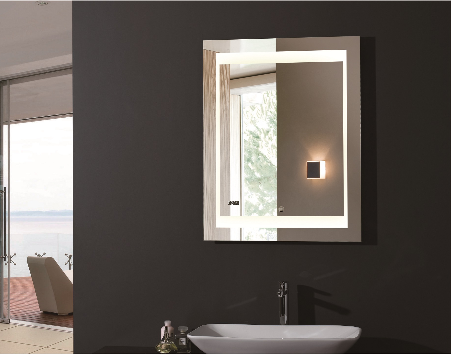 Most Popular Zen Lighted Vanity Mirror Led Bathroom Mirror Intended For Large Lighted Bathroom Wall Mirrors (View 9 of 20)