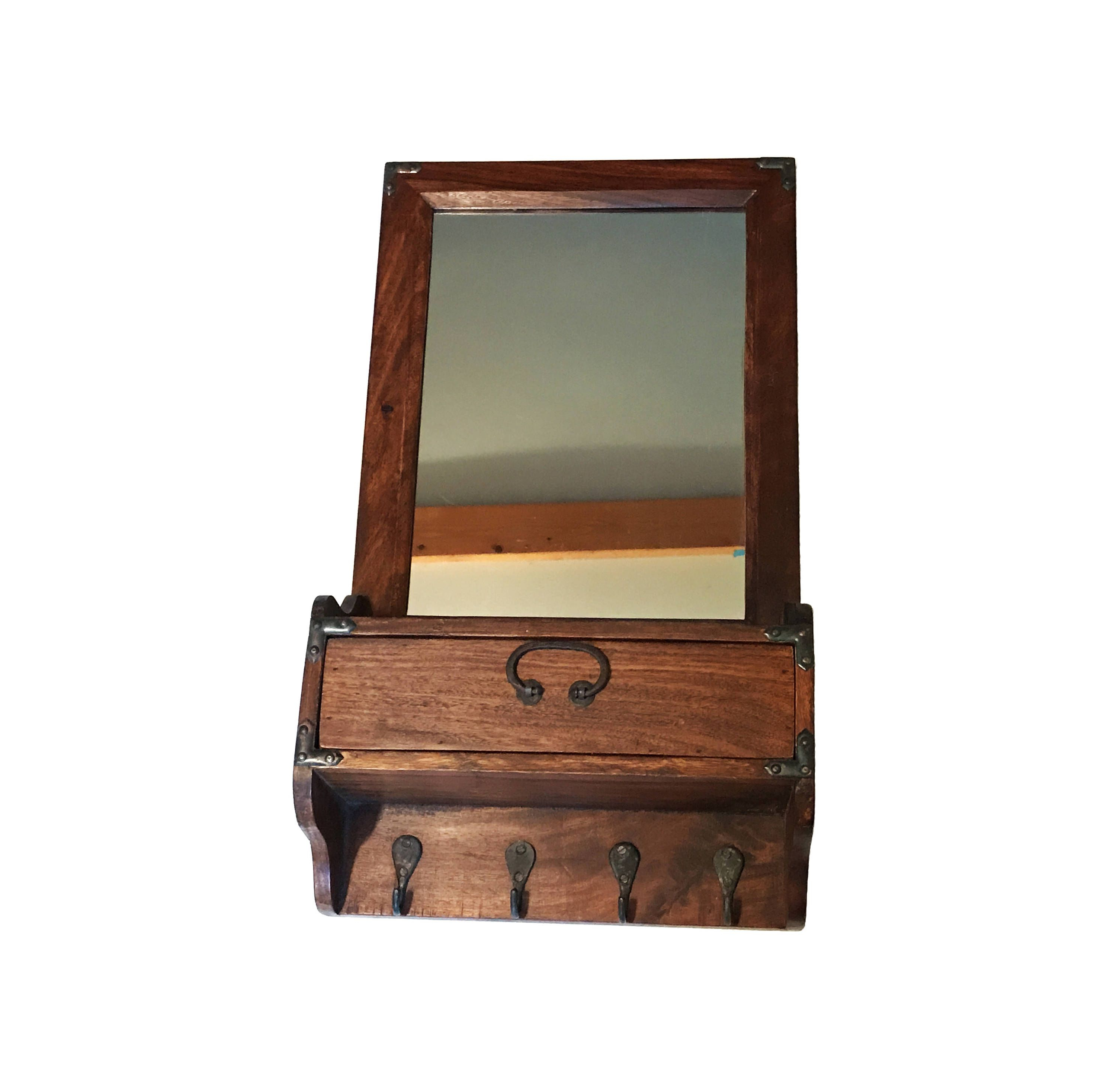 """Most Recent $79vintage Entryway 23"""" Tall Organizer Key Hanging Wall Coat Throughout Cherry Wood Framed Wall Mirrors (View 12 of 20)"""