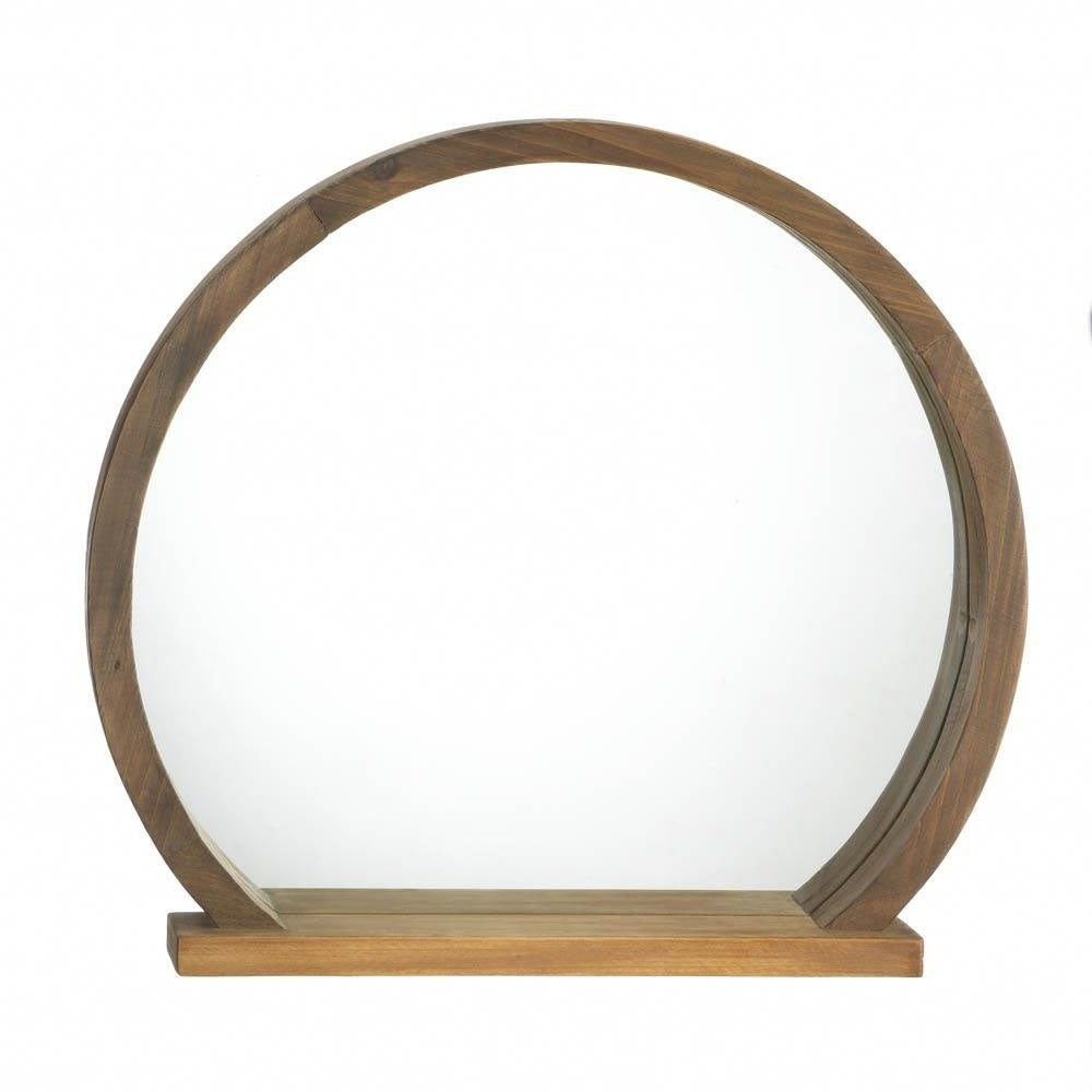 Most Recent Accent Plus Rustic Decorative Round Wooden Wall Mirror With Shelf – Brown Intended For Round Wood Wall Mirrors (View 9 of 20)