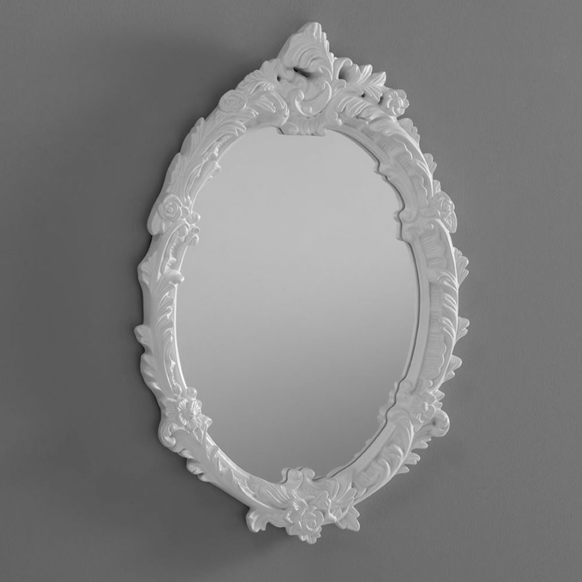 Most Recent Antique Oval Wall Mirrors With Antique French Style Oval White Ornate Wall Mirror (View 10 of 20)