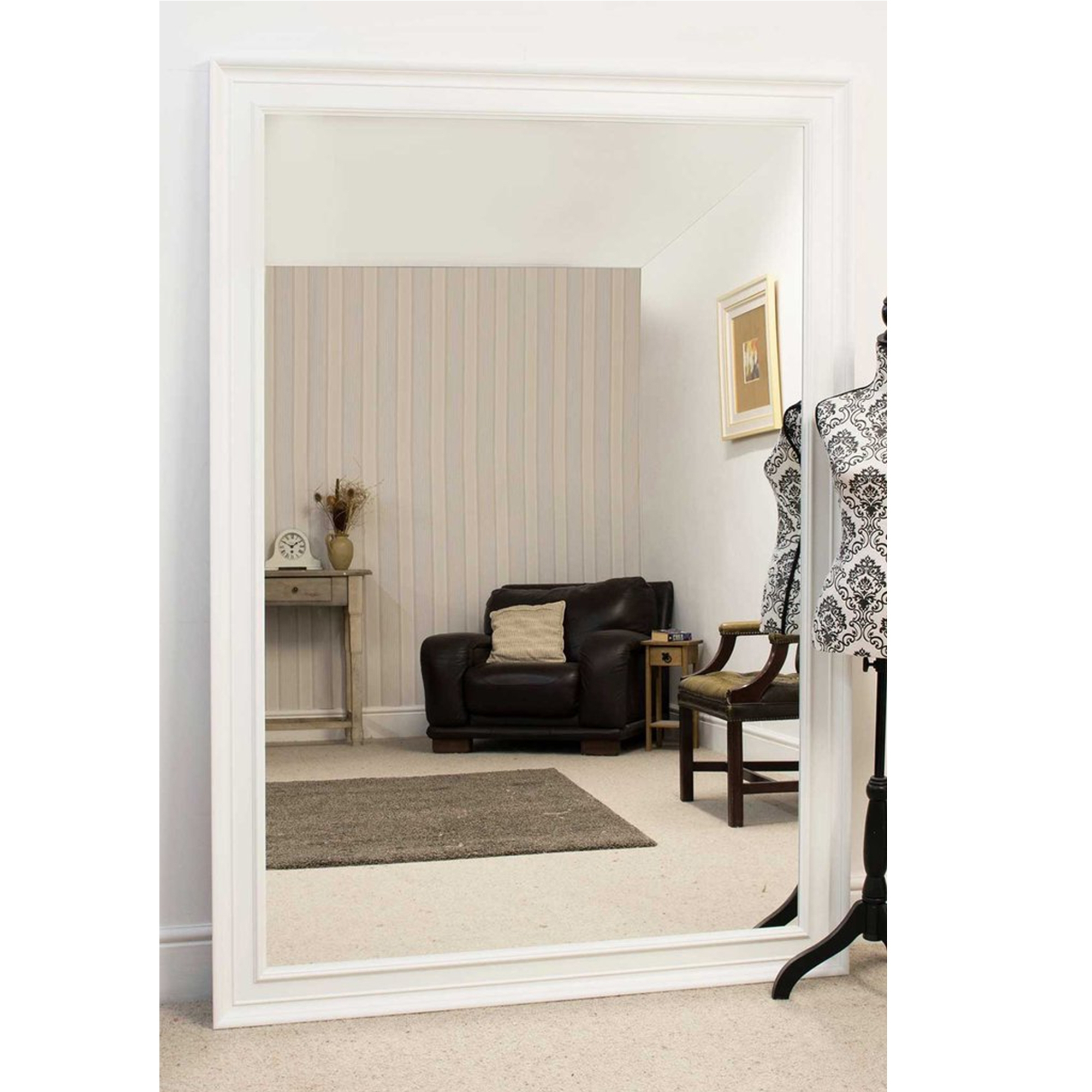Most Recent Antique White Wall Mirrors Within Large White Antique French Style Wall Mirror (Gallery 7 of 20)