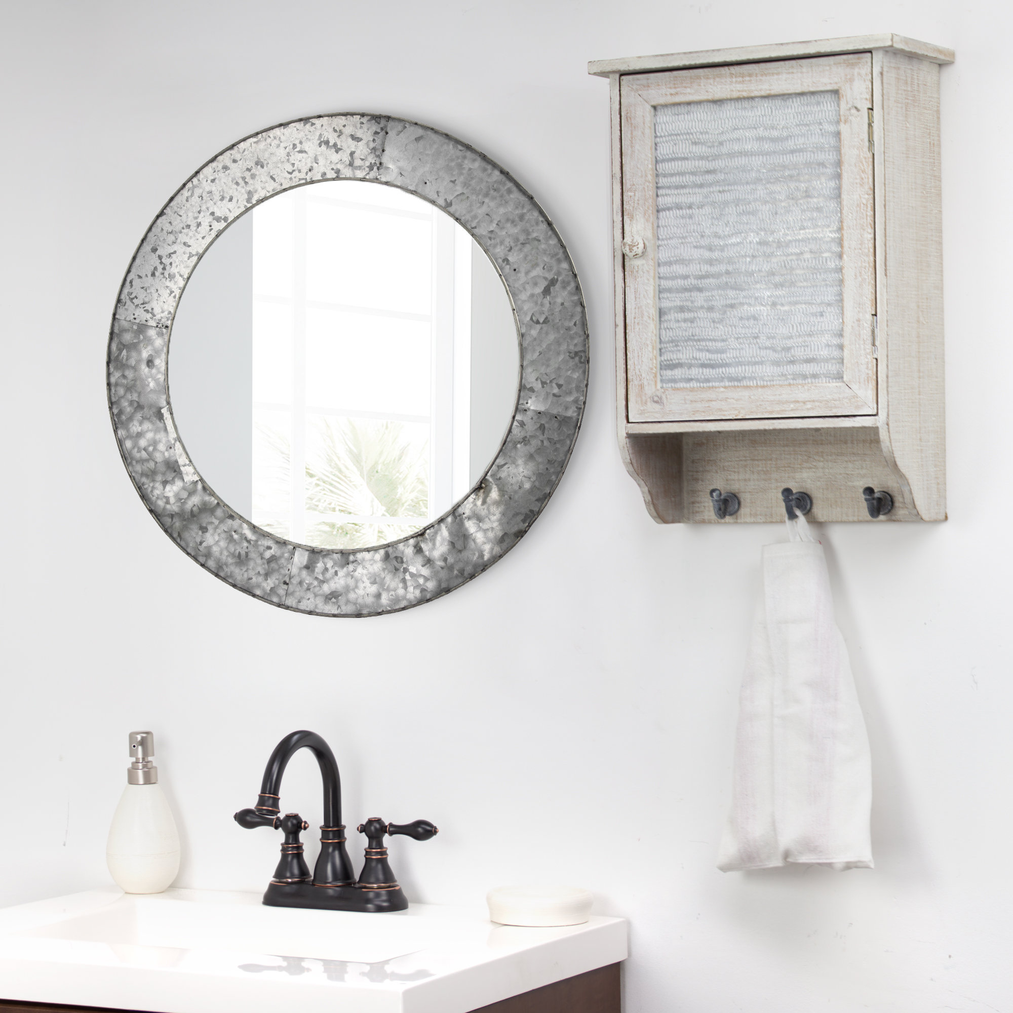 Most Recent Baumgartner Galvanized Round Metal Wall Mirror With Round Galvanized Metallic Wall Mirrors (View 4 of 20)