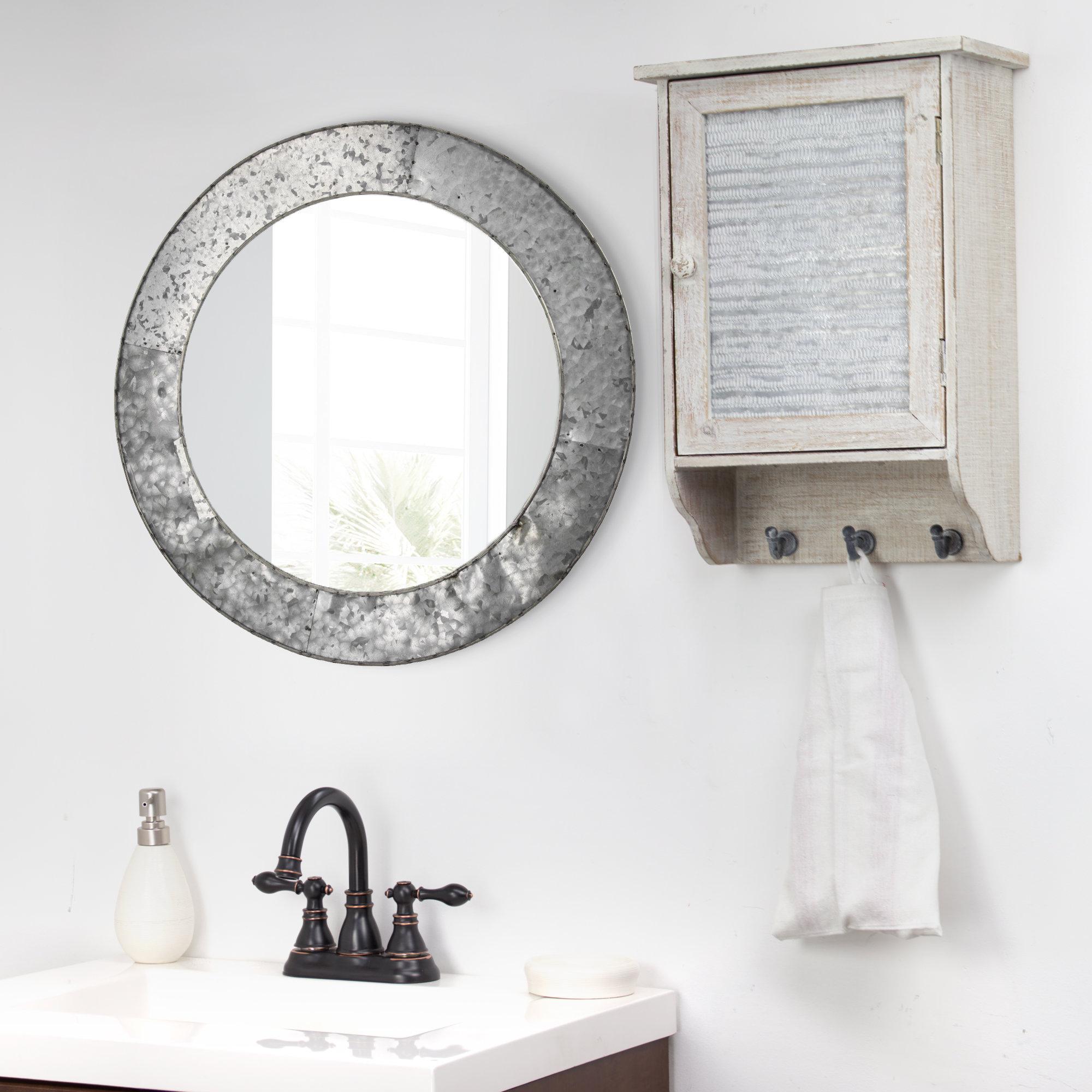Most Recent Baumgartner Galvanized Round Metal Wall Mirror With Round Galvanized Metallic Wall Mirrors (View 4 of 20)