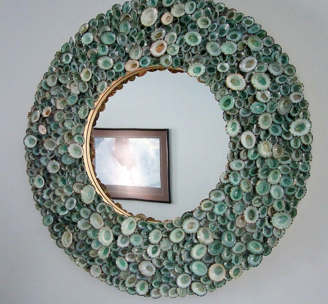"Most Recent Beach Decor Seashell Mirror, Nautical Decor Aqua Limpet Shell Mirror, Coastal Decor Seashell Wall Mirror, 18"" In Beachy Wall Mirrors (View 9 of 20)"