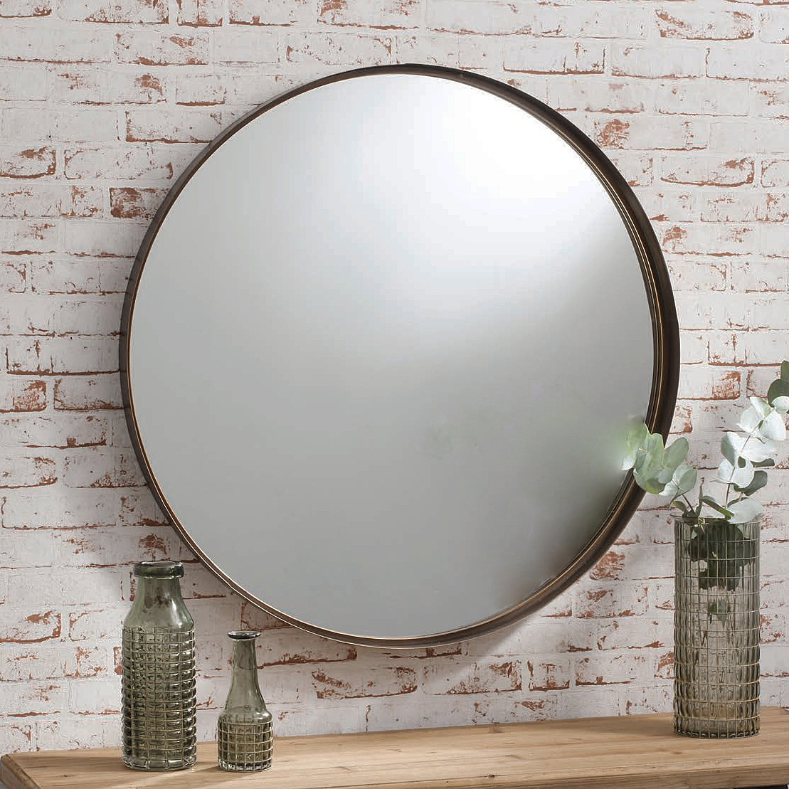 Most Recent Bronze Industrial Round Mirror With Round Metal Wall Mirrors (View 3 of 20)