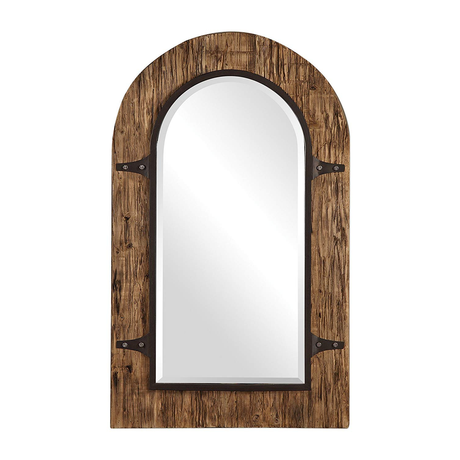 Most Recent Burnes Oval Traditional Wall Mirrors Regarding Amazon: My Swanky Home Rustic Gothic Reclaimed Wood Arch Wall (View 19 of 20)