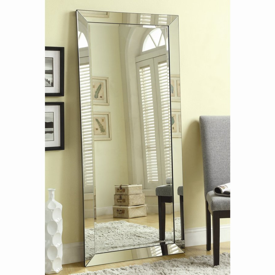 Most Recent Coaster Fine Furniture Silver Beveled Frameless Floor Mirror At With Regard To Large Floor To Ceiling Wall Mirrors (View 15 of 20)