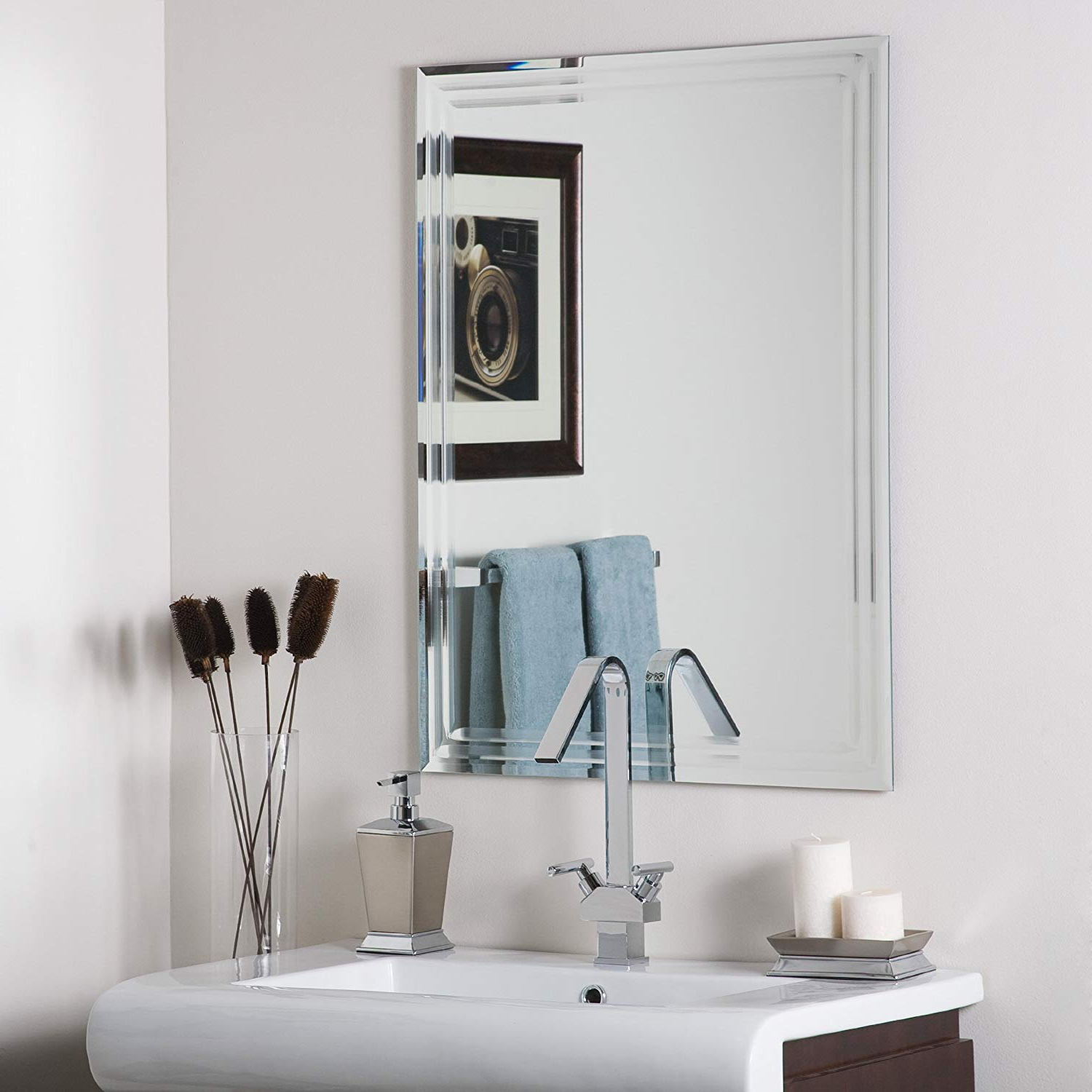 Most Recent Decor Wonderland Frameless Tri Bevel Wall Mirror With Regard To Wall Mirror For Bathroom (View 5 of 20)