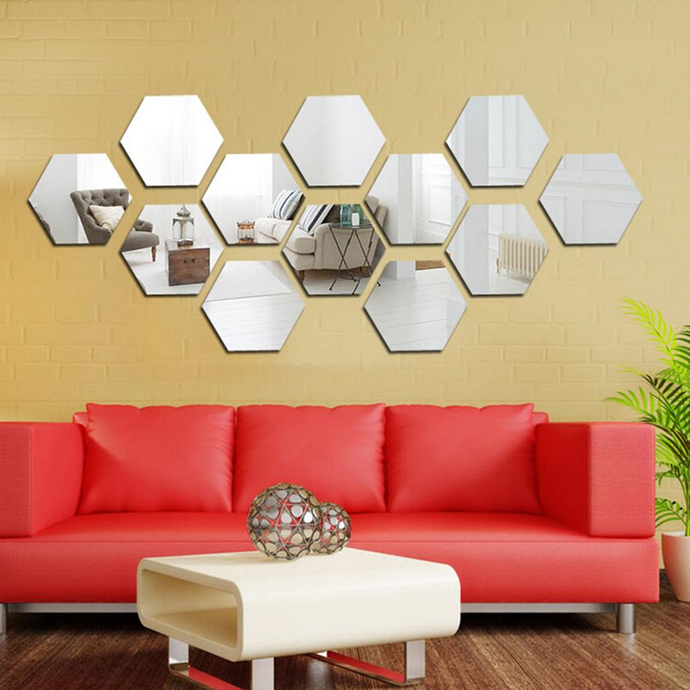 Most Recent Eshylala 12 Pcs 80Mm/46Mm Gold Silver 3D Mirror Geometric Hexagon Acrylic Wall Sticker Bedroom Living Room Stickers Decor Gift Regarding Hexagon Wall Mirrors (View 19 of 20)
