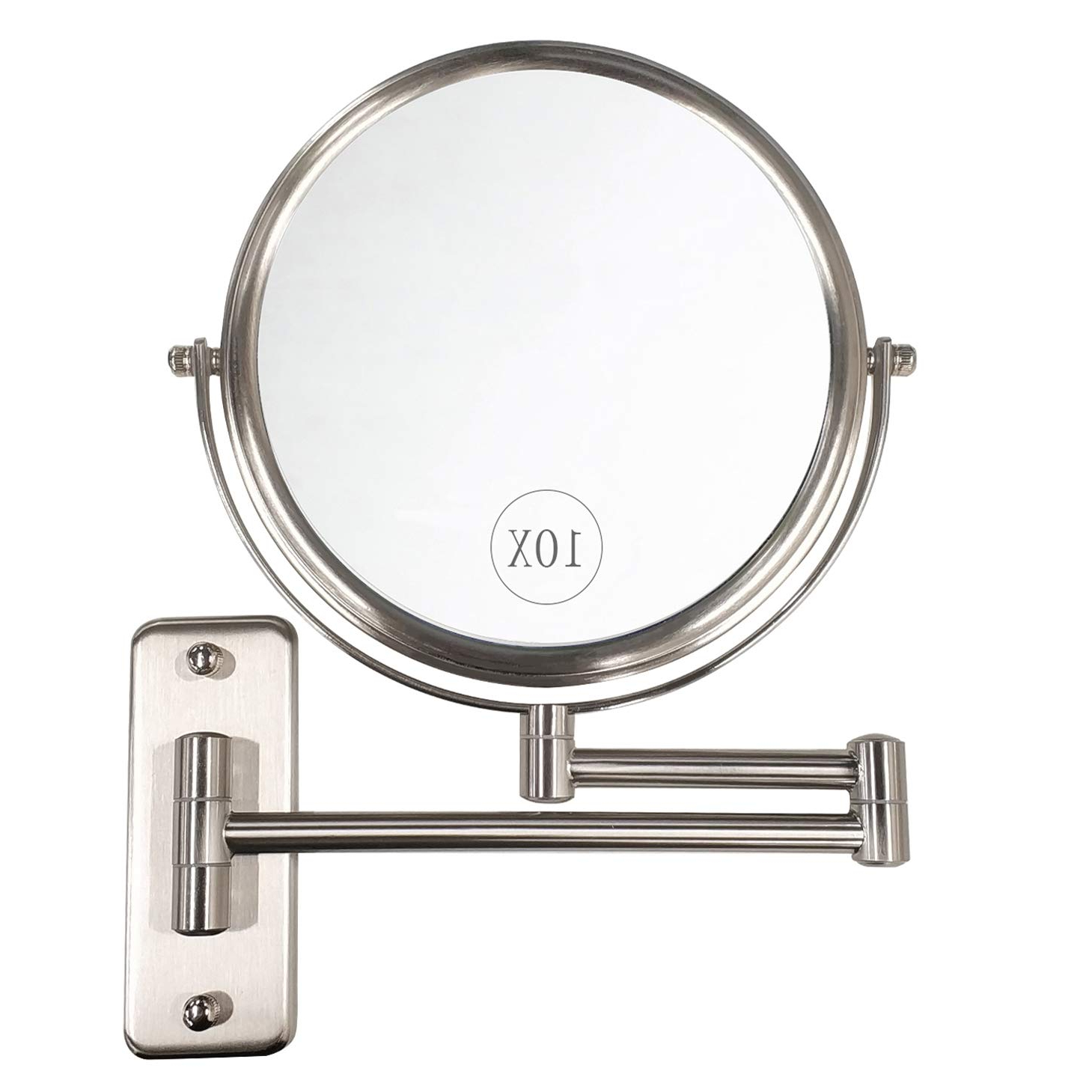Most Recent Extendable Wall Mirrors Inside Alhakin Wall Mounted Makeup Mirror – 10X Magnification 8'' Two Sided Swivel  Extendable Bathroom Mirror Nickel Finish (Gallery 3 of 20)