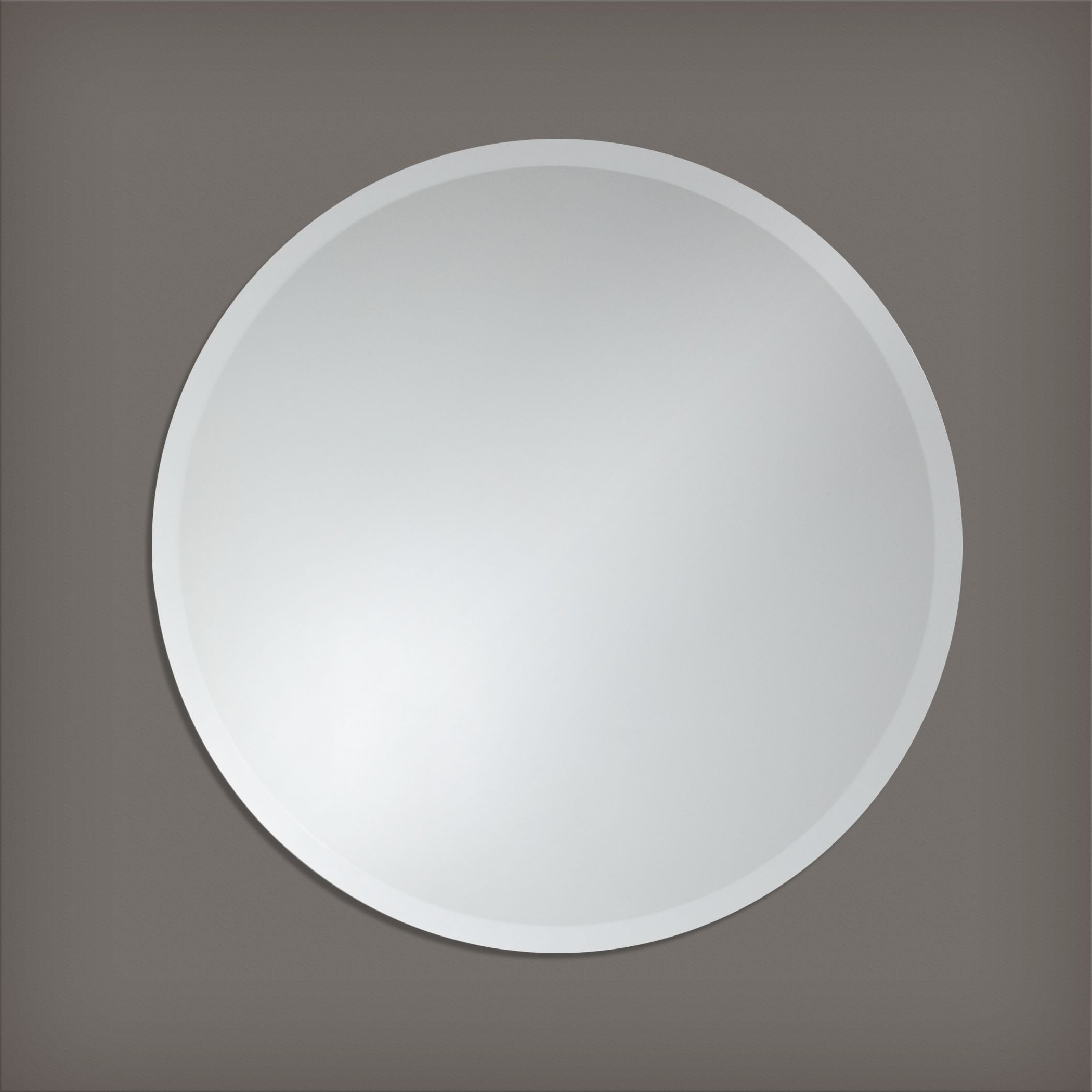 Most Recent Frameless Round Wall Mirrorthe Better Bevel – Silver Throughout Round Beveled Wall Mirrors (View 7 of 20)