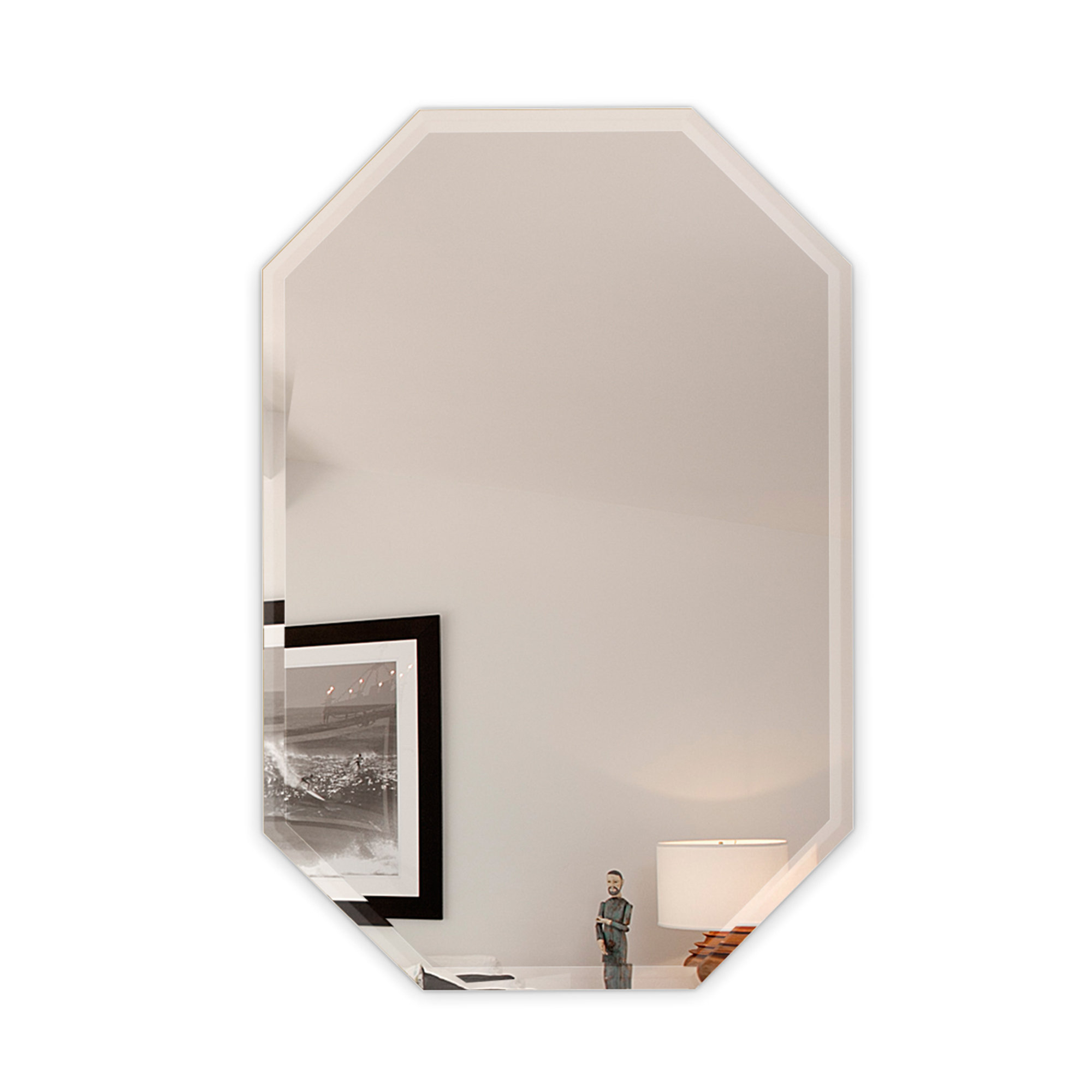 Most Recent Frameless Wall Mirrors Intended For Octagon Frameless Wall Mirror With 3 Hooks (View 18 of 20)