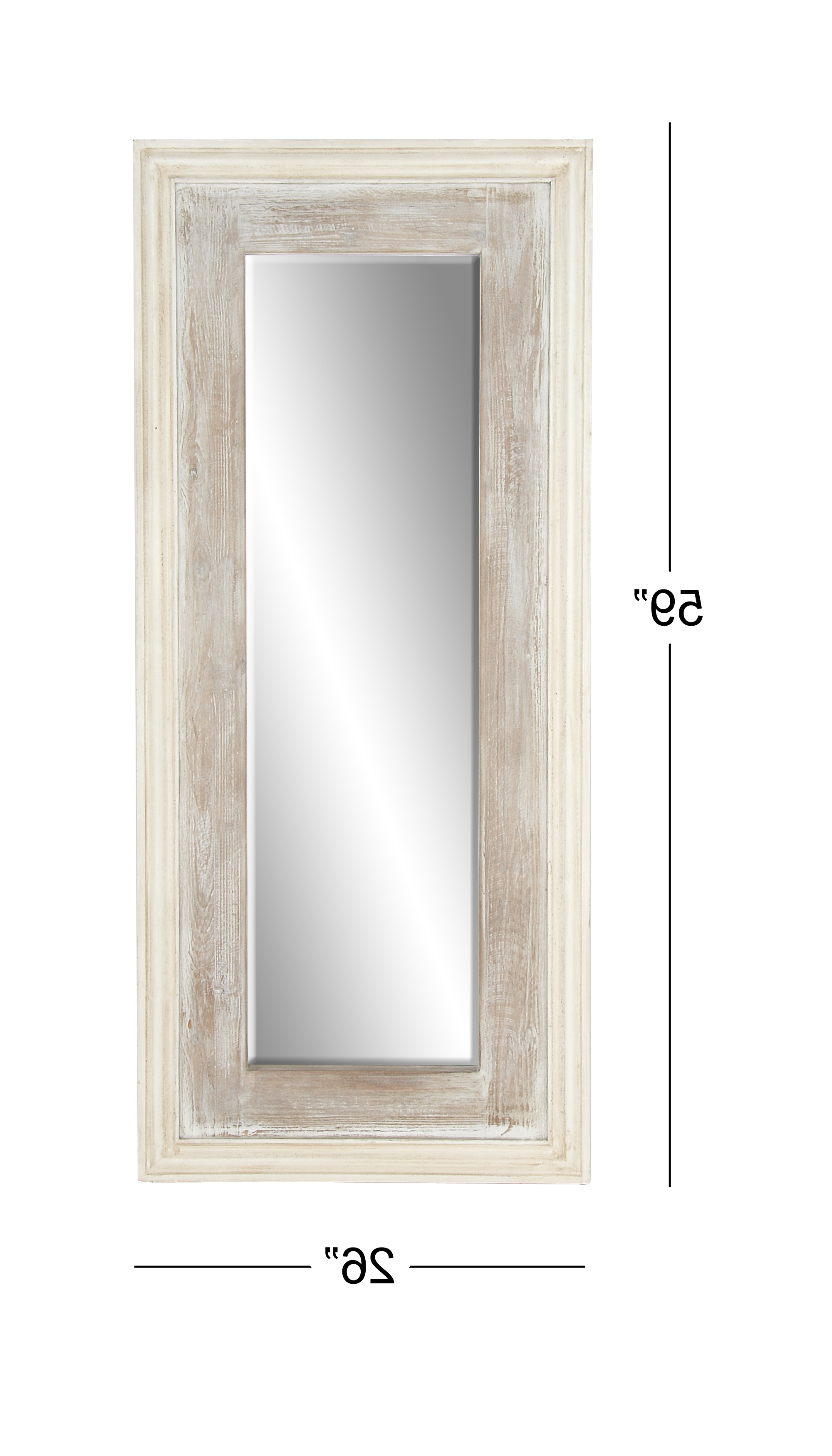 Most Recent Full Length White Wall Mirrors Inside Decmode Rustic Fir And Pine Wood Full Length White Wall Mirror, White (View 11 of 20)